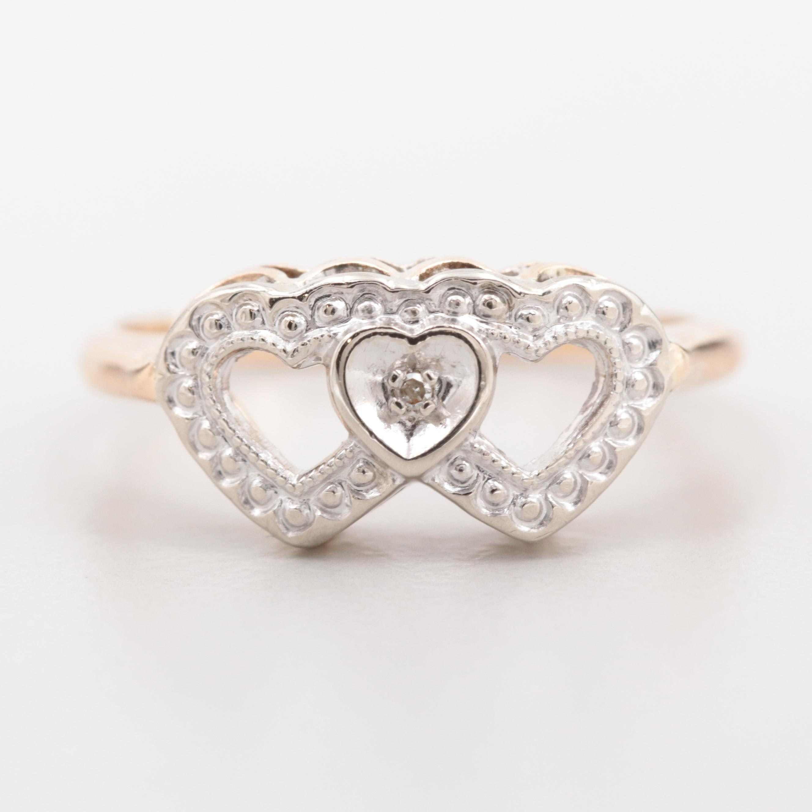 14K Yellow and White Gold Diamond Double Heart Ring