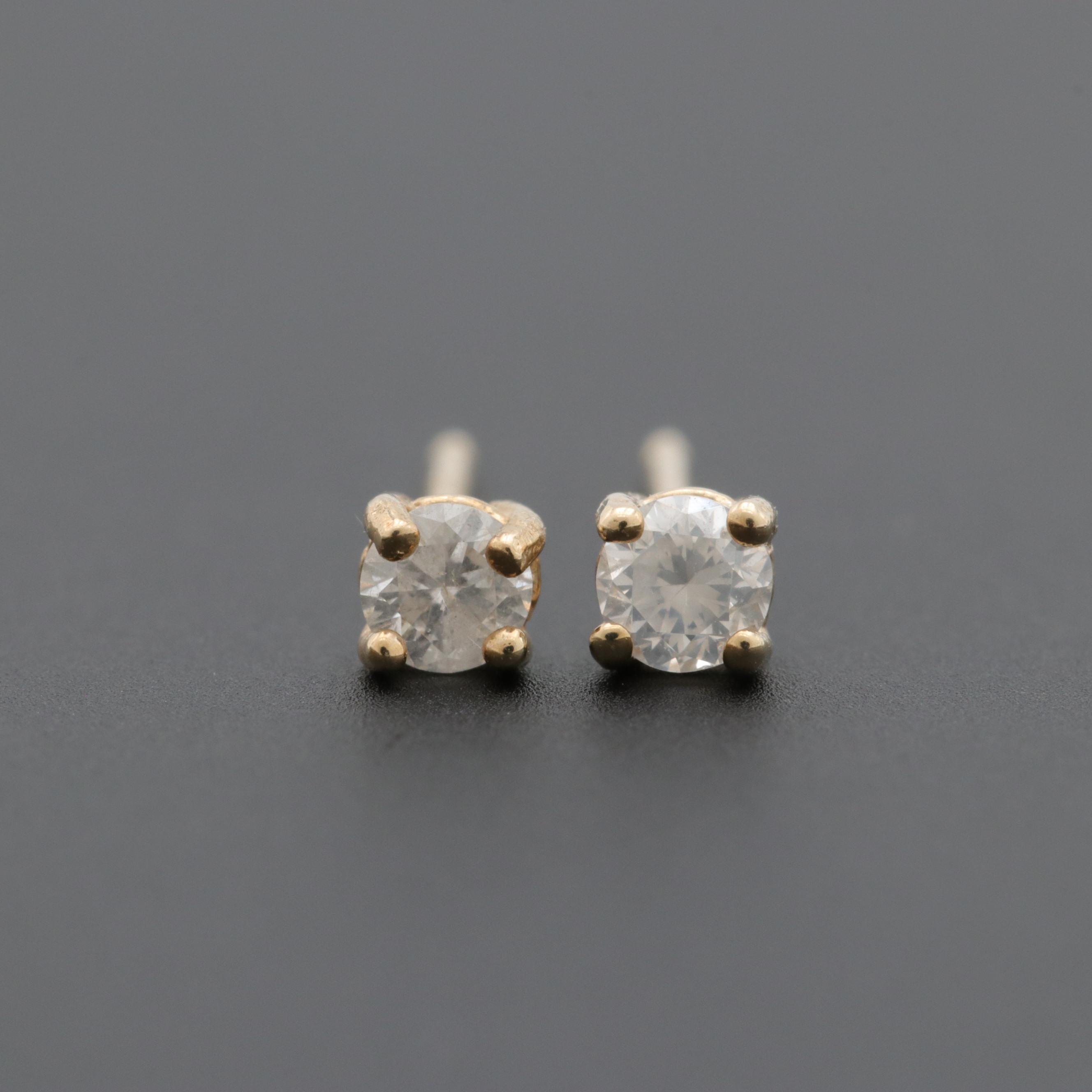 Gold Wash on Sterling Silver Diamond Stud Earrings