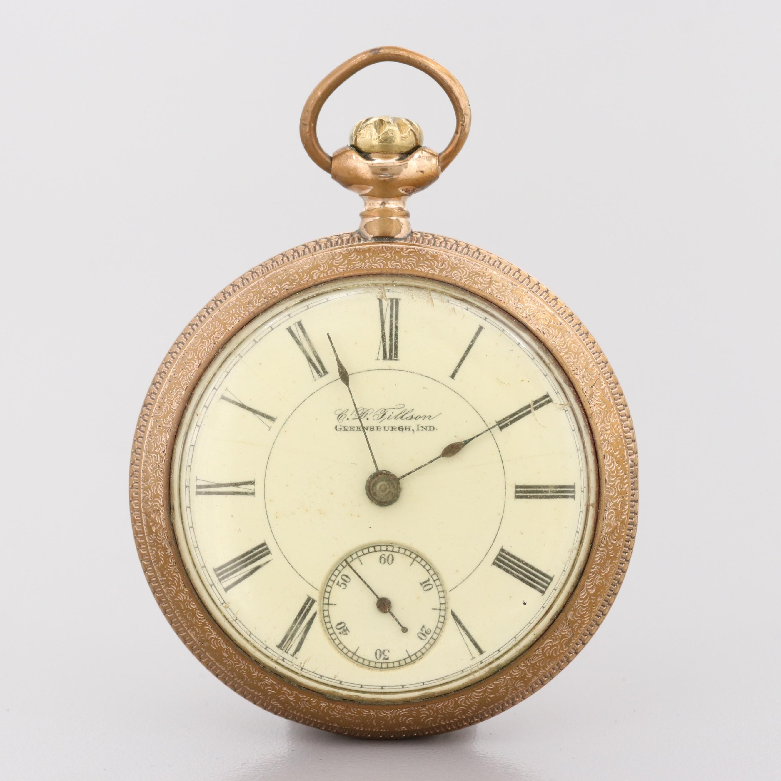Antique C.D. Tillson Gold Filled Illinois Open Face Pocket Watch, 1894