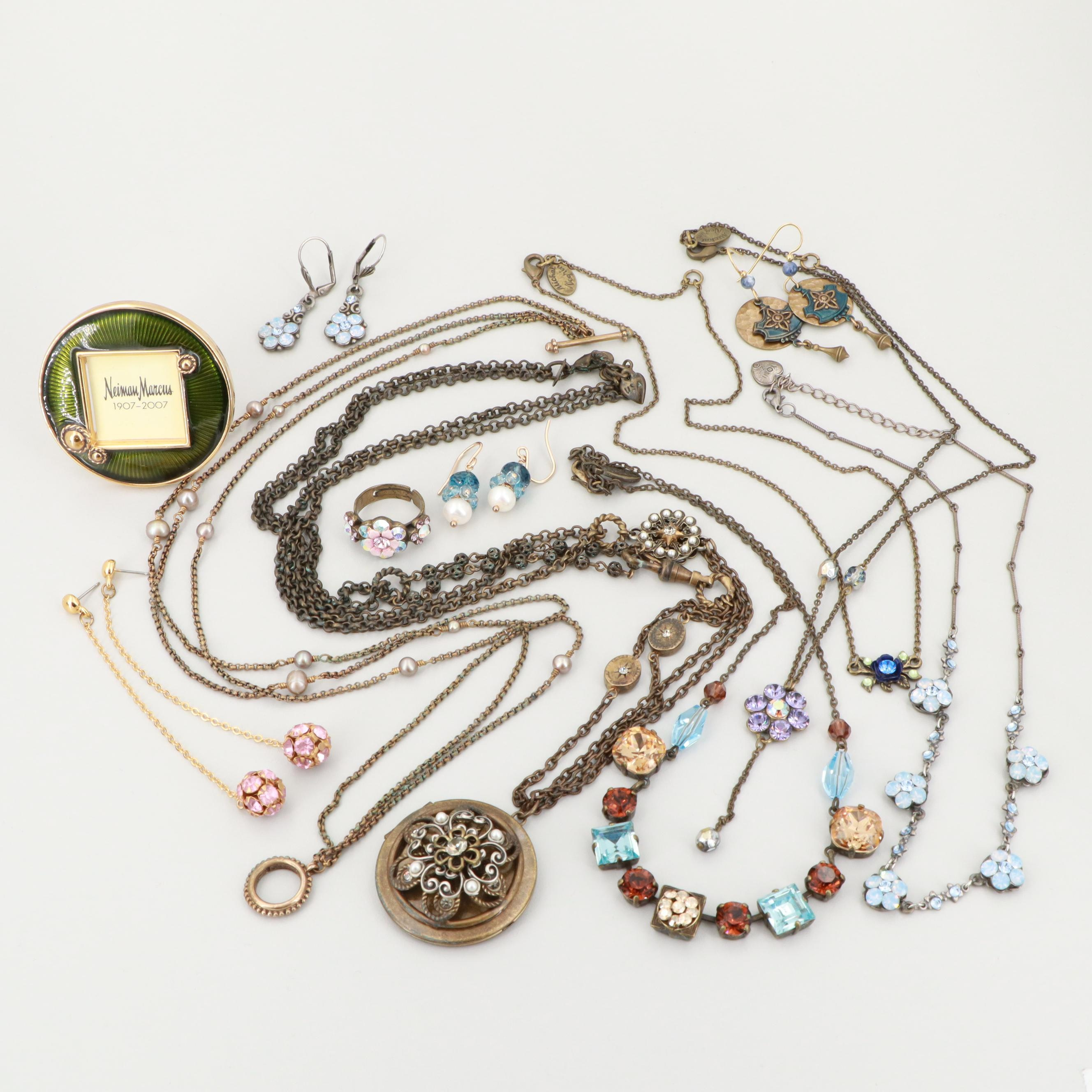 Base Metal Enamel, Glass and Cultured Pearl Jewelry Including Michael Negrin