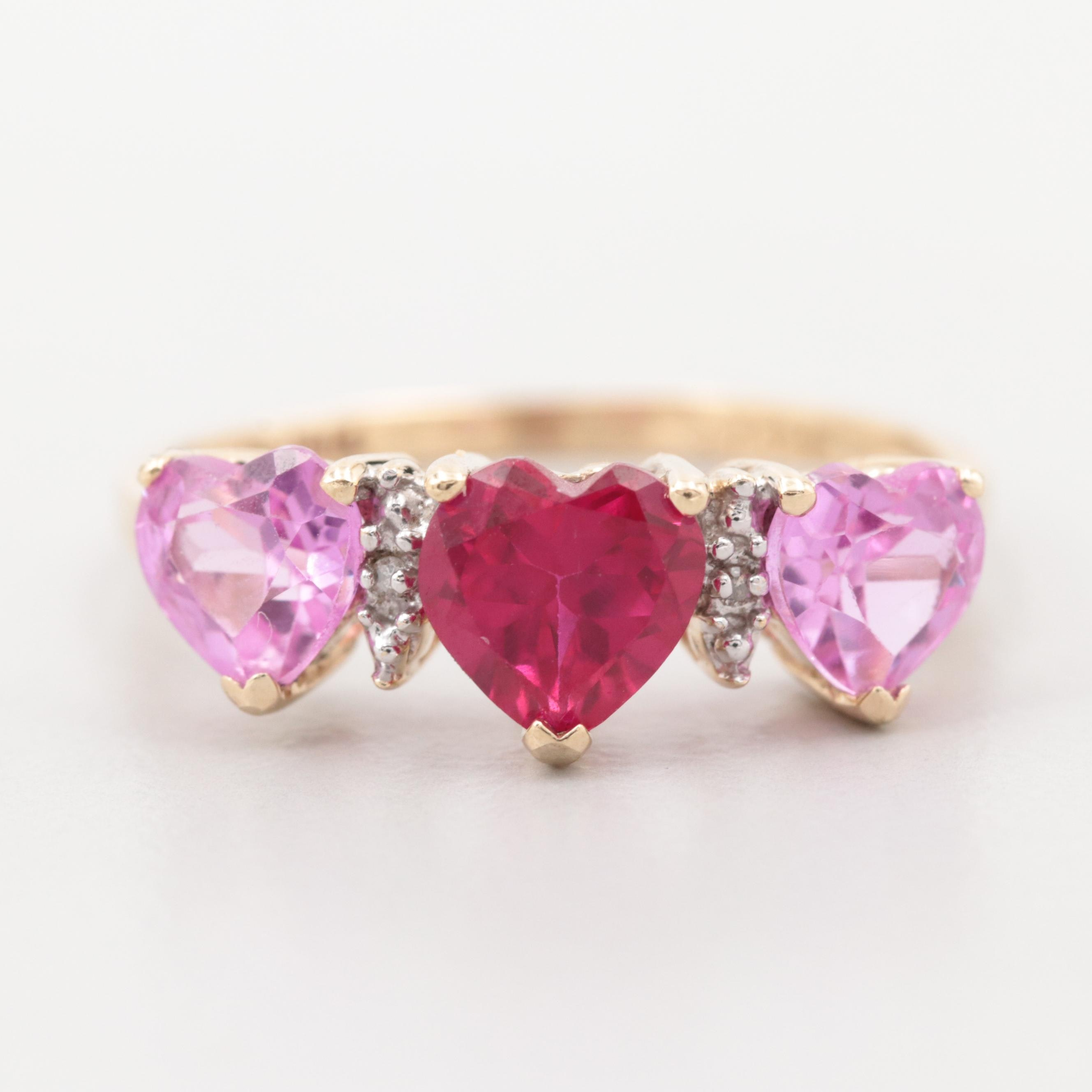 10K Yellow Gold Diamond and Synthetic Ruby and Pink Sapphire Triple Heart Ring