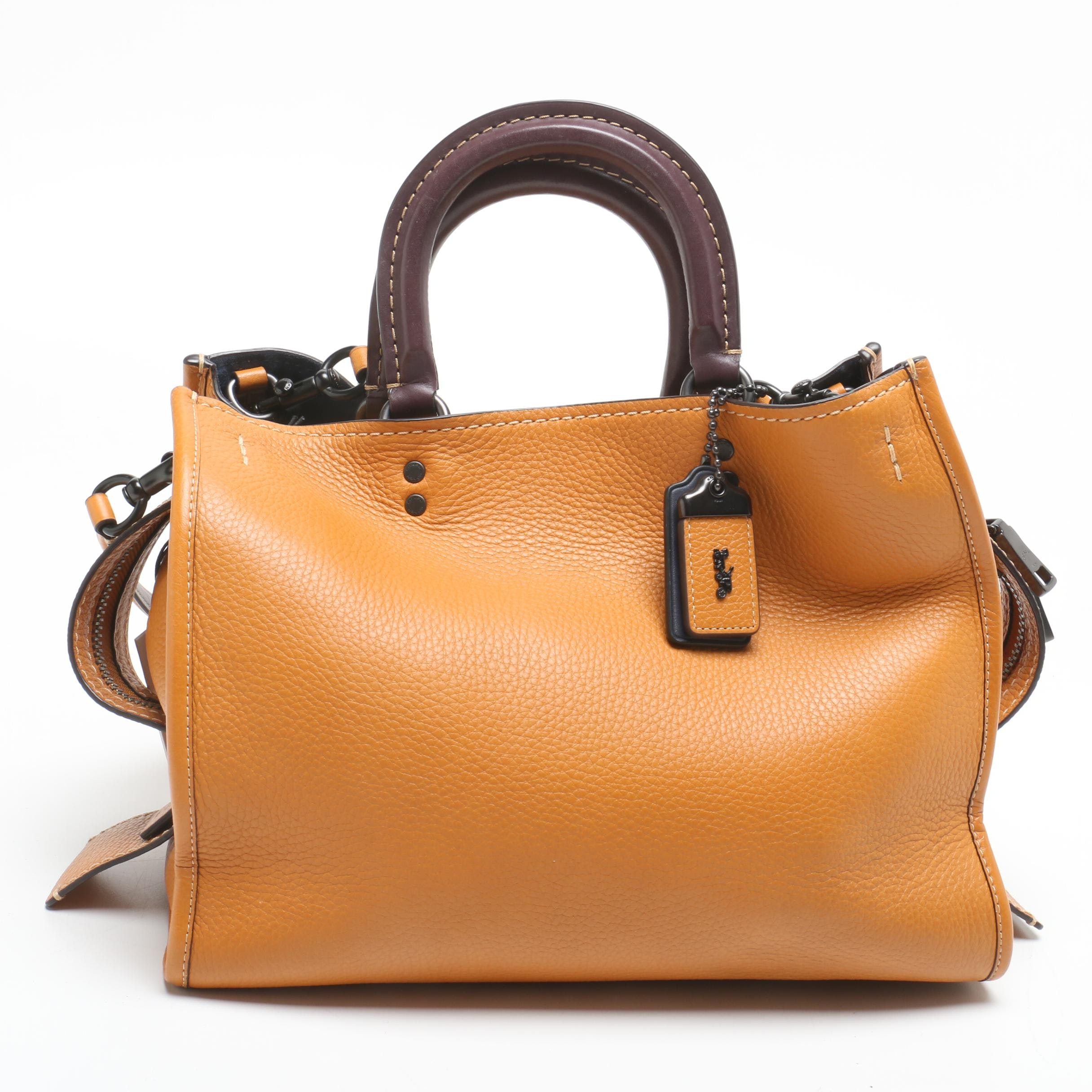 Coach Rogue Butterscotch Pebbled Leather Satchel with Dark Plum Handles