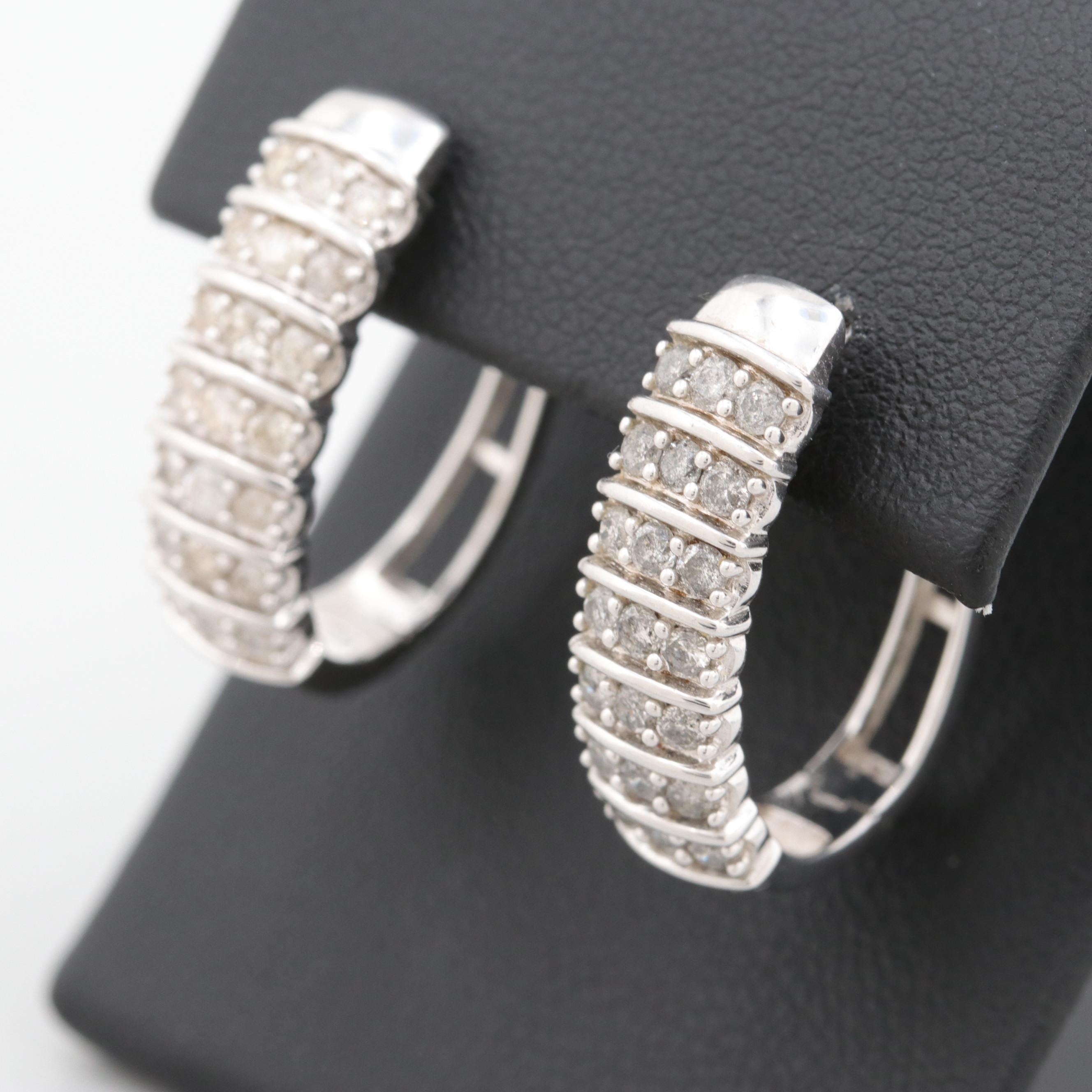 Sterling Silver 1.00 CTW Diamond Hoop Earrings