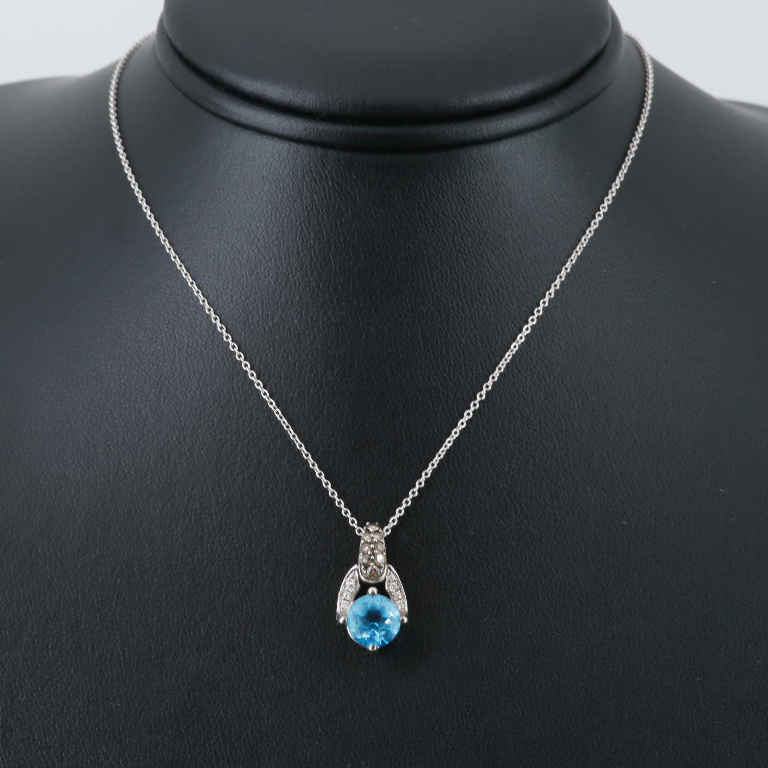 Le Vian 14K White Gold Blue Topaz and Diamond Pendant with Chain Necklace