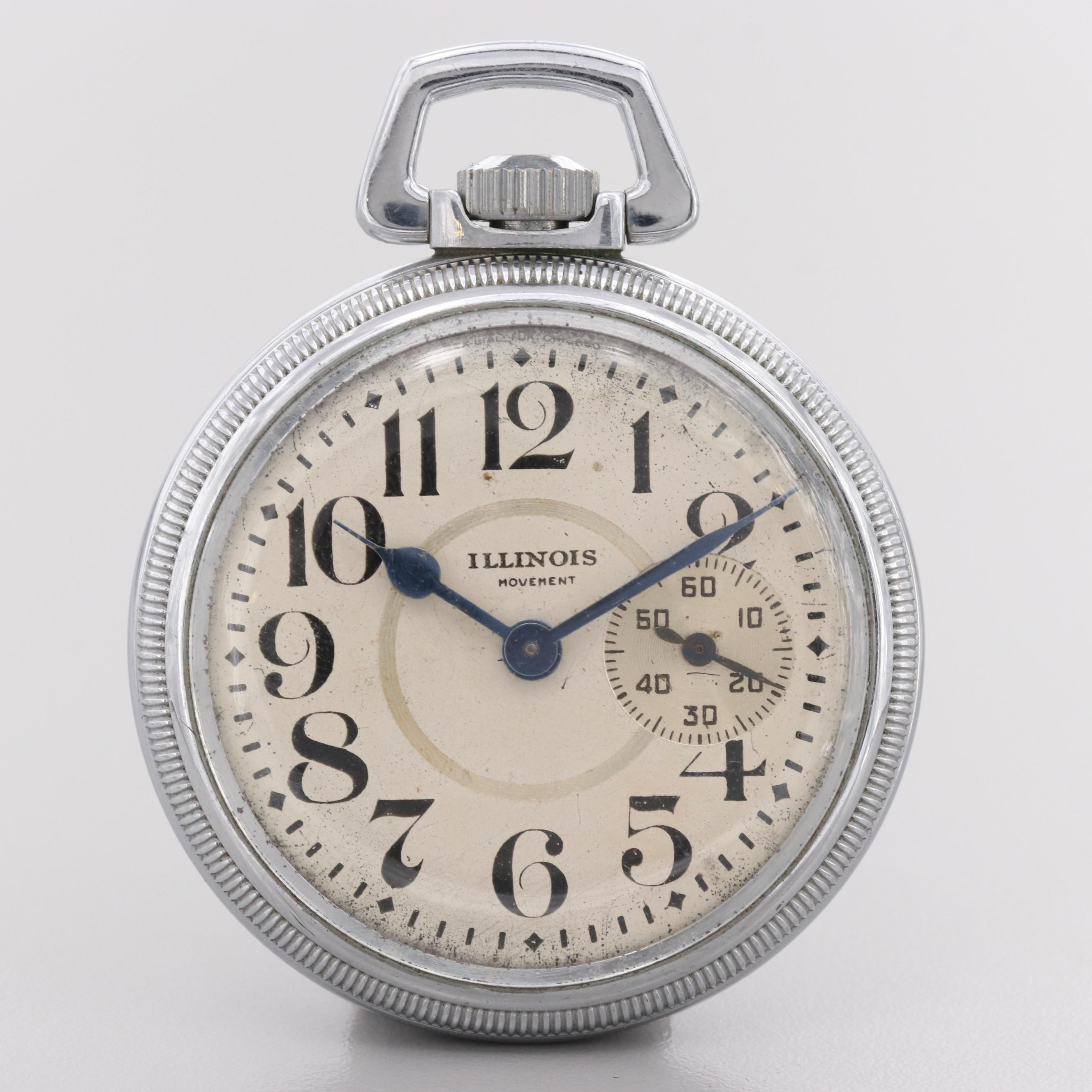 Illinois Silver Tone Pocket Watch, 1914