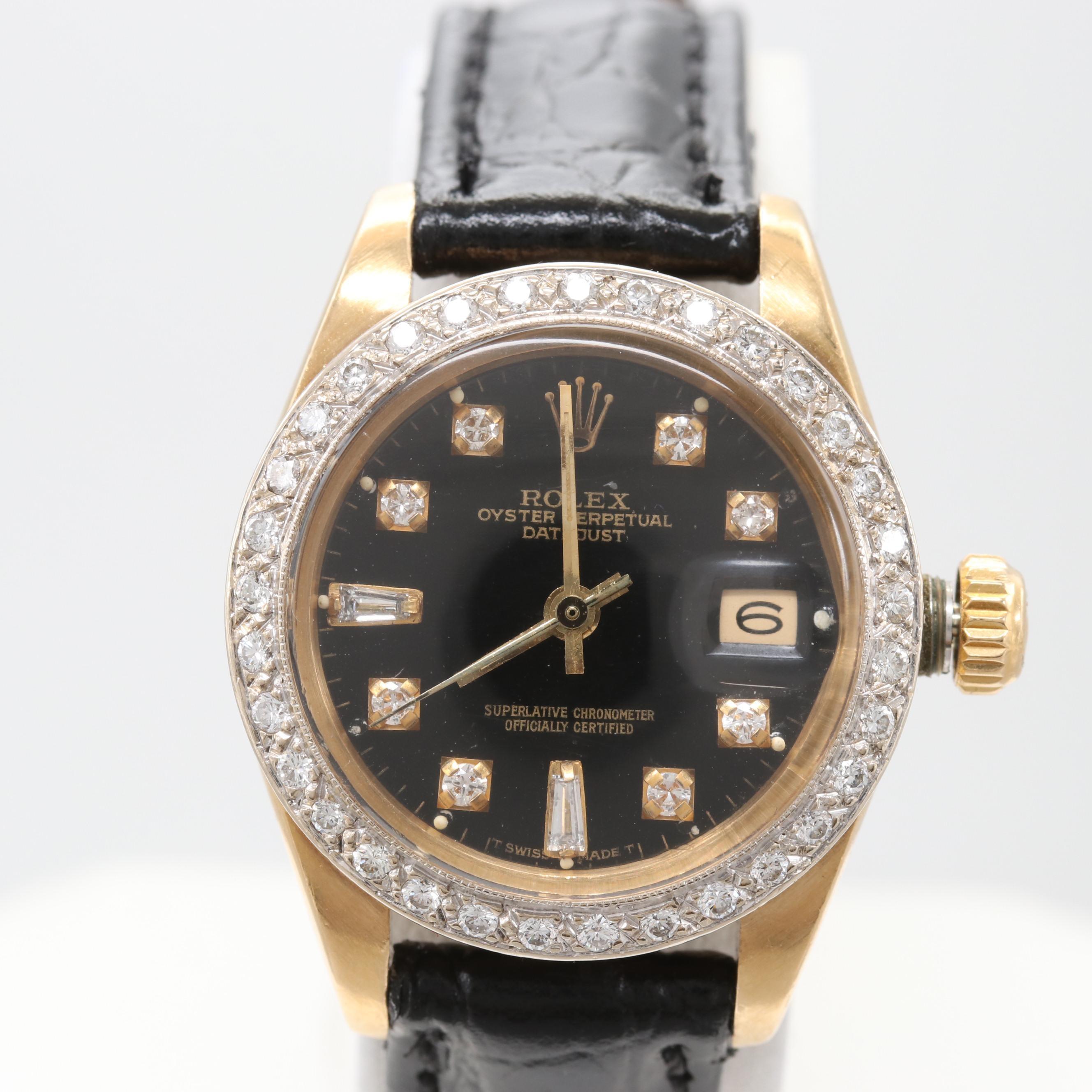 Vintage Rolex Datejust 18K Yellow Gold Diamond Wristwatch, 1983
