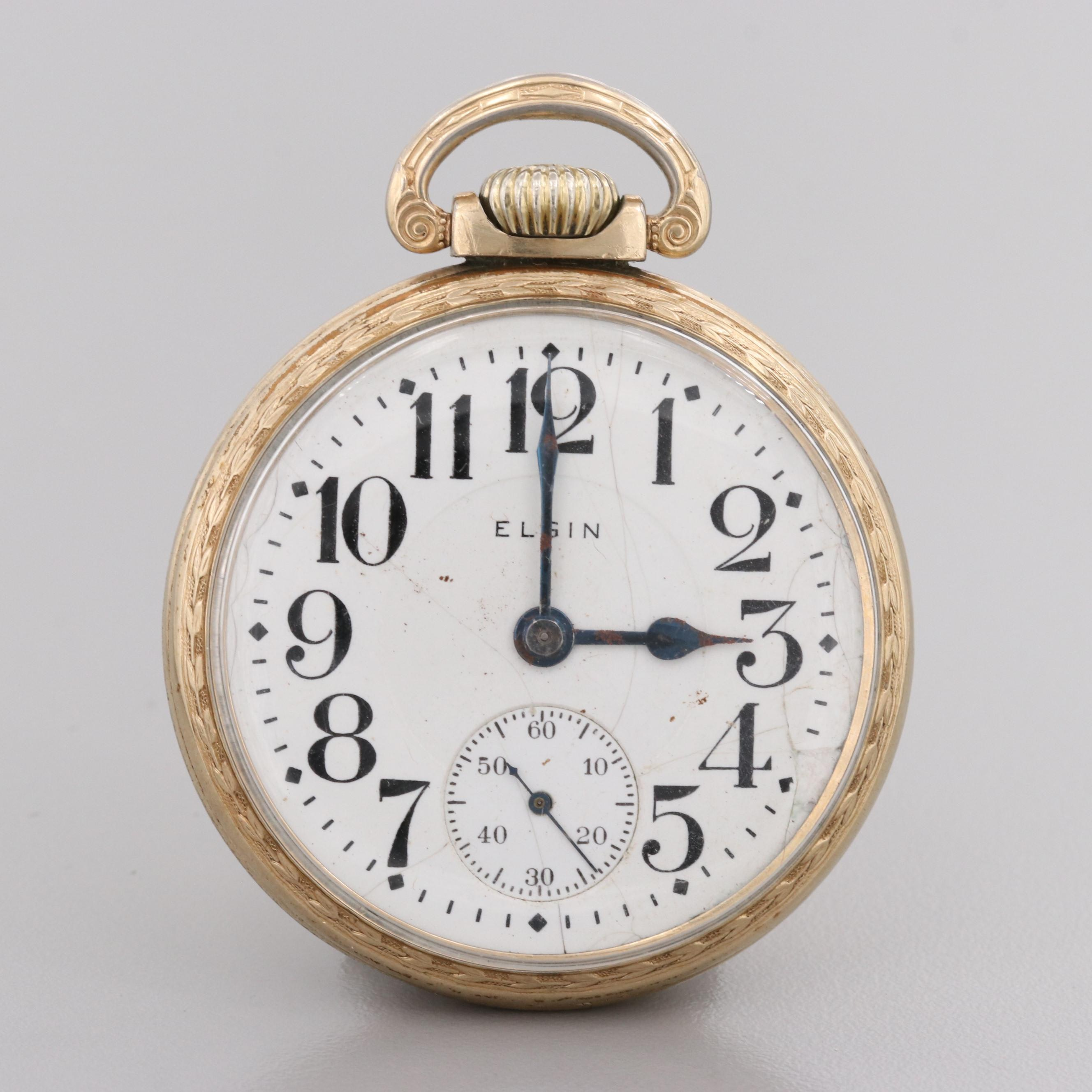 Elgin 10K Rolled Gold Plate Pocket Watch, 1919
