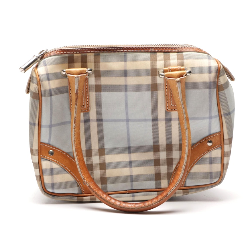 "Burberry London Light Blue ""Nova Check"" Coated Canvas and Leather Satchel"