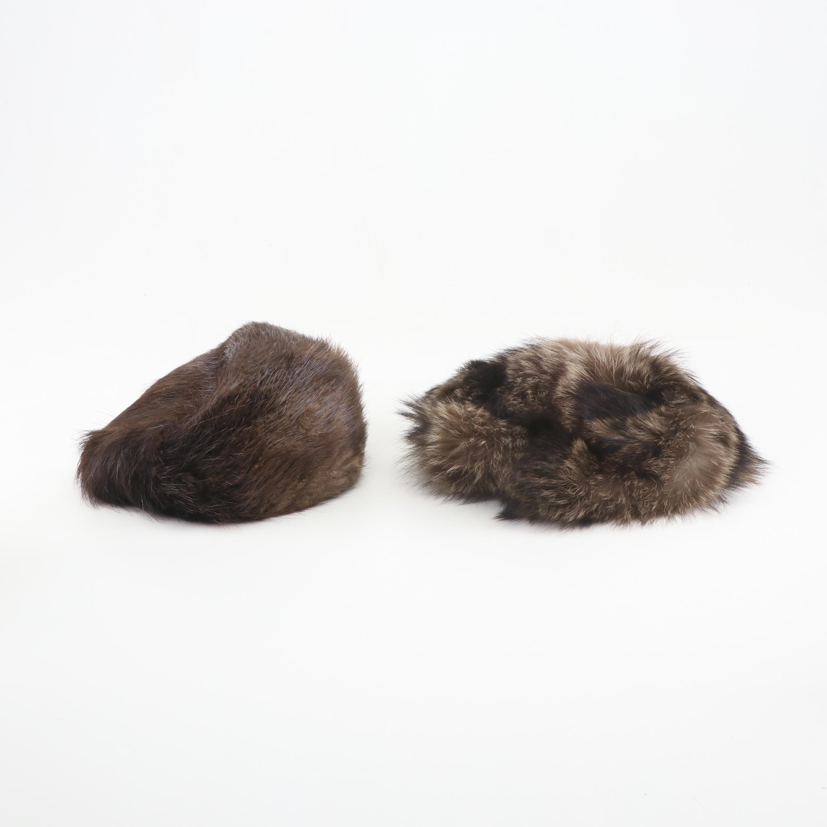 Women's Natural Raccoon and Beaver Fur Hats