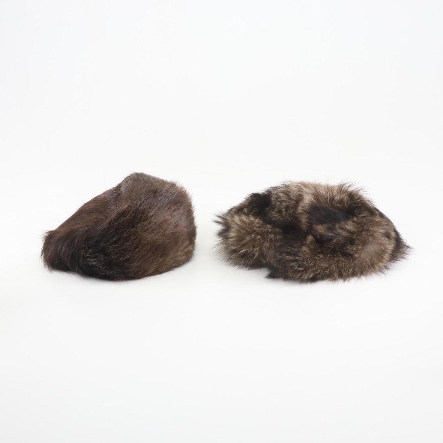 Women's Natural Raccoon and Beaver Fur Hats