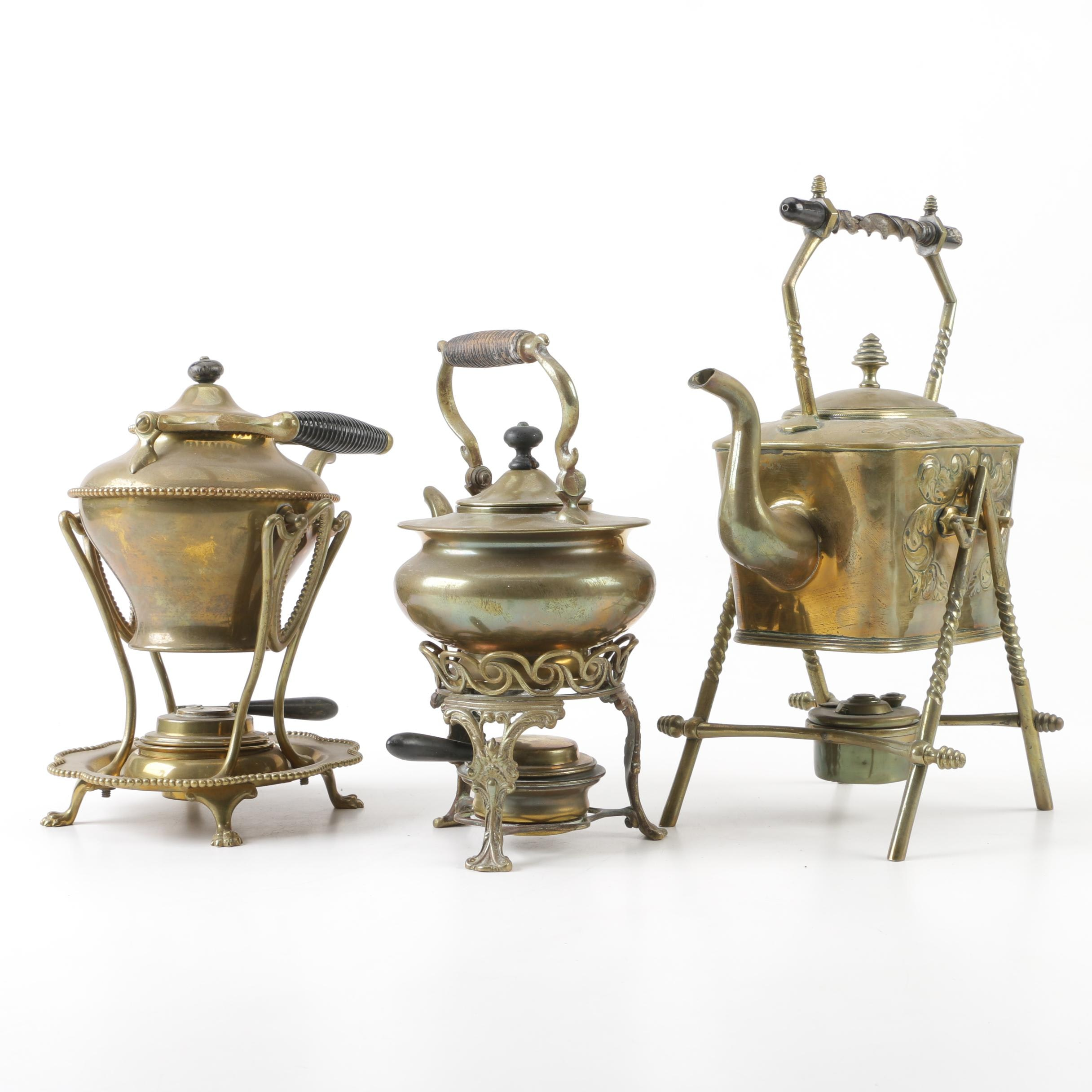 Brass Teapots with Warming Stands, Late 19th Century/ Early 20th Century