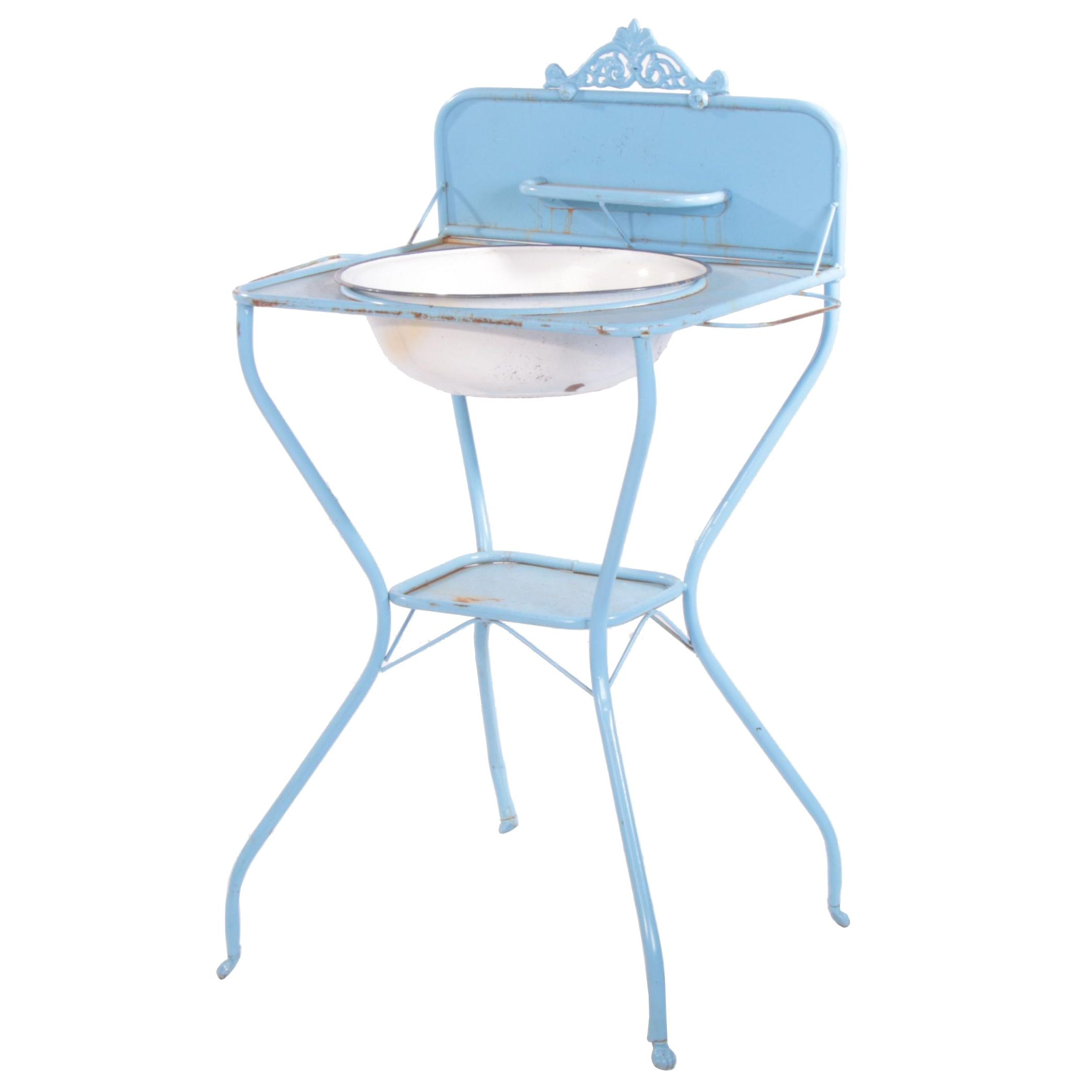 """French Provincial Style """"Estate"""" Enameled Metal Wash Stand"""