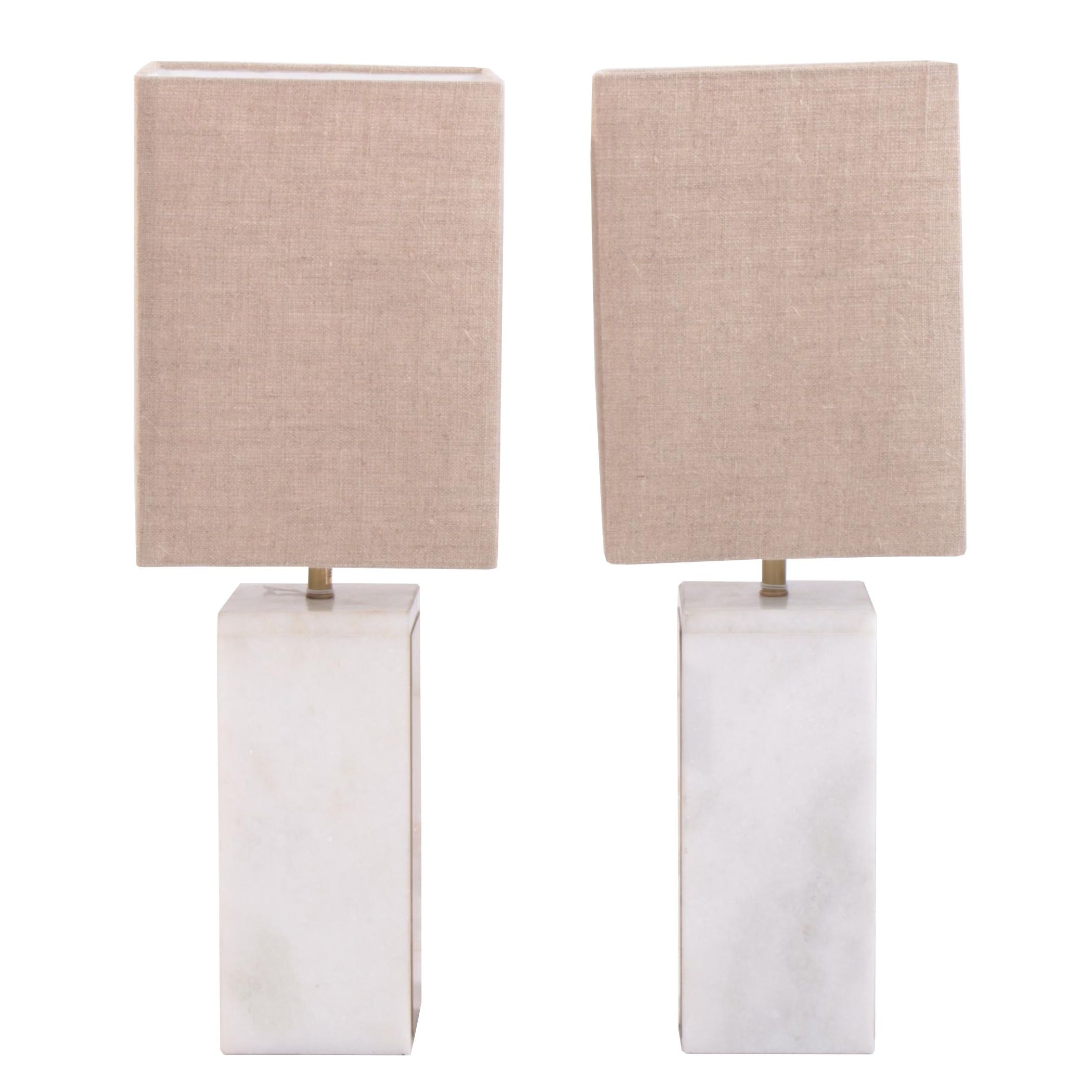 """Glam"" Square Marble and Gold Tone Metal Table Lamps with Shades"