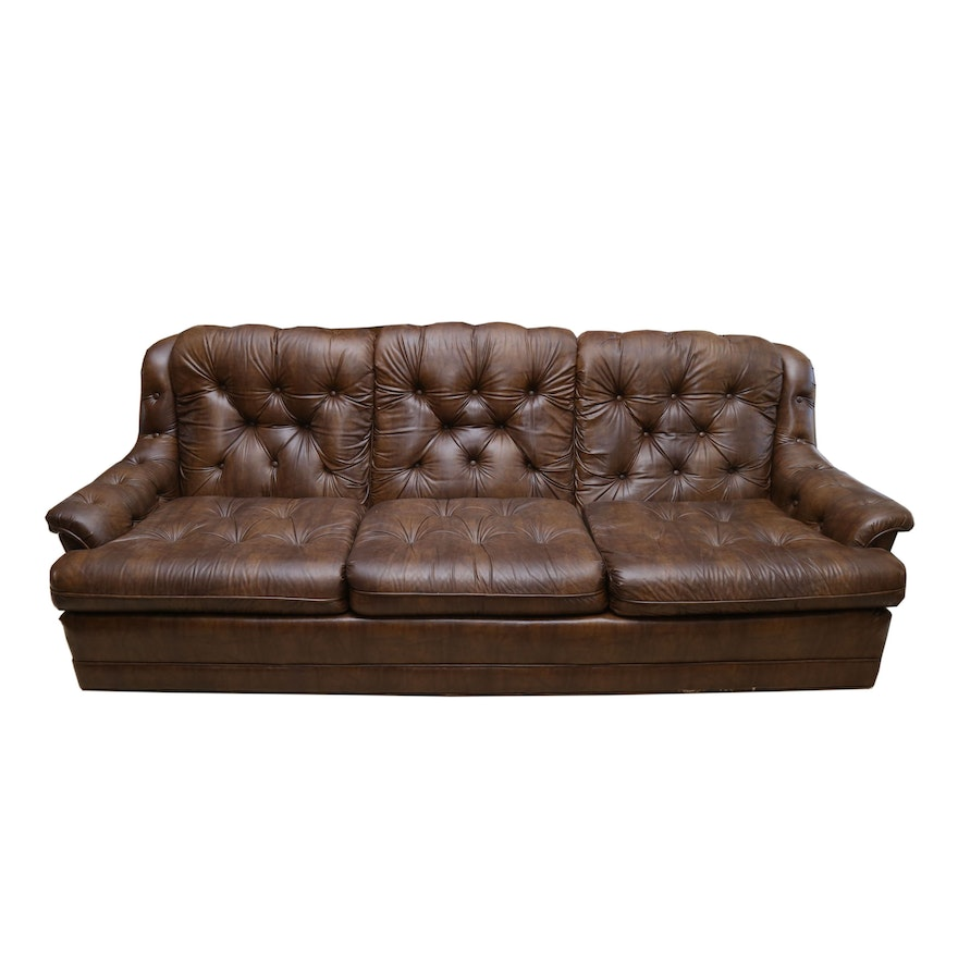 Miraculous Button Tufted Faux Leather Sofa By Stratford Designs Late 20Th Century Ncnpc Chair Design For Home Ncnpcorg