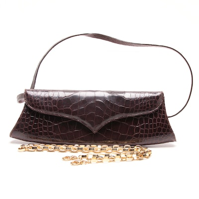 b4949c032d19 LAI Brown Dyed Alligator Shoulder Bag with Link Chain Strap