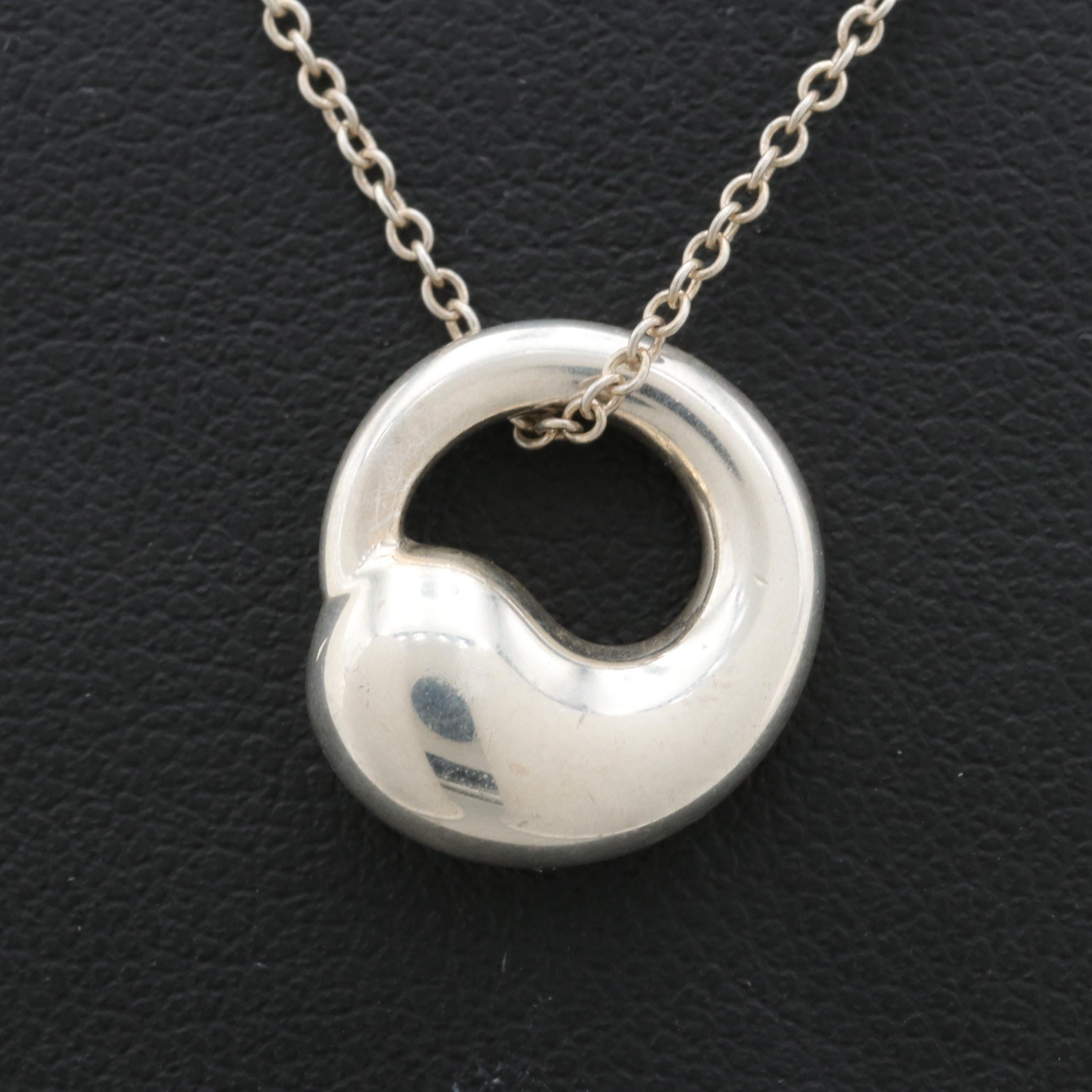 """Elsa Peretti for Tiffany & Co. """"Eternal Circle"""" Sterling Silver Pendant Necklace"""