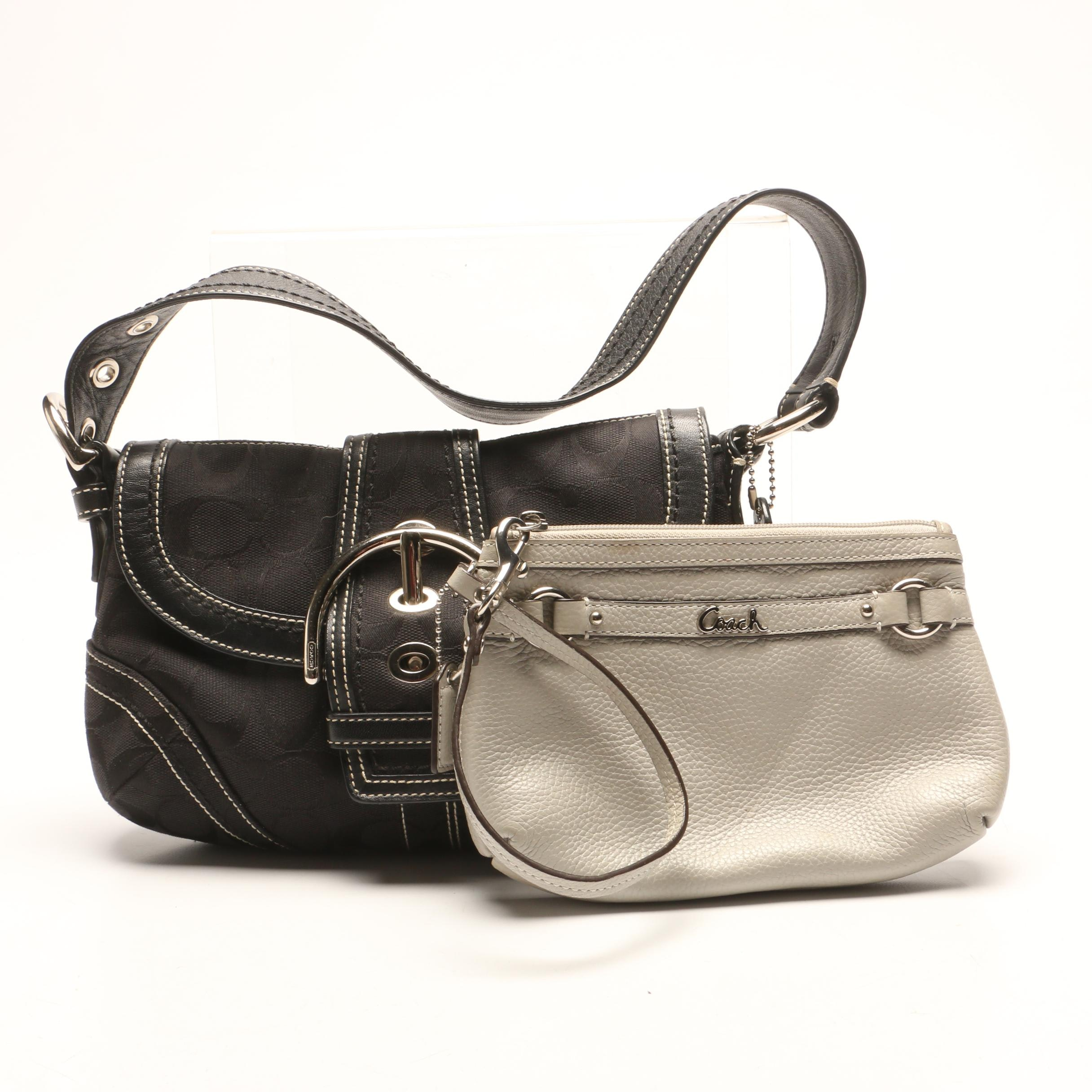 Coach Black Signature Buckle Flap Hobo Bag and Coach Pebbled Leather Wristlet