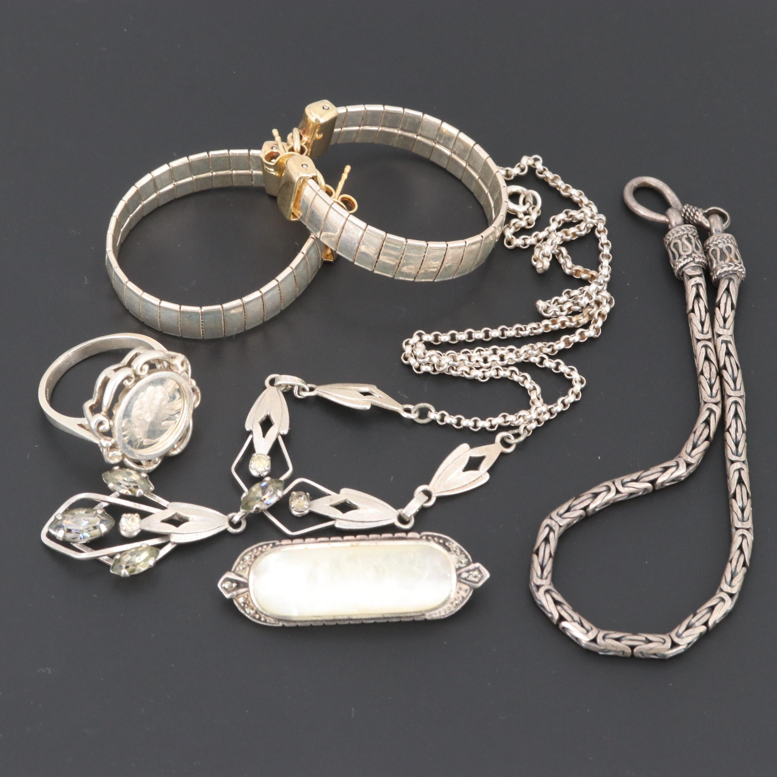 Sterling Silver Mother of Pearl and Foilback Glass Jewelry Assortment