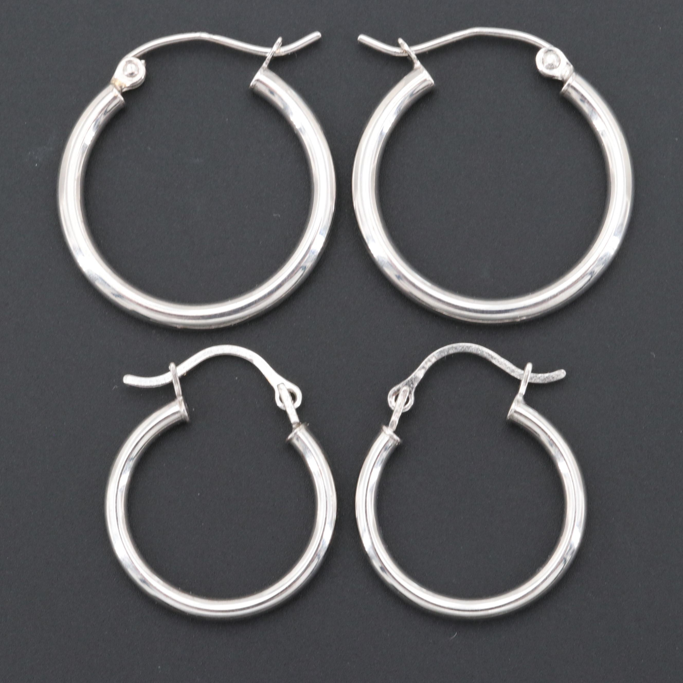 14K White Gold and Silver Tone Hoop Earrings