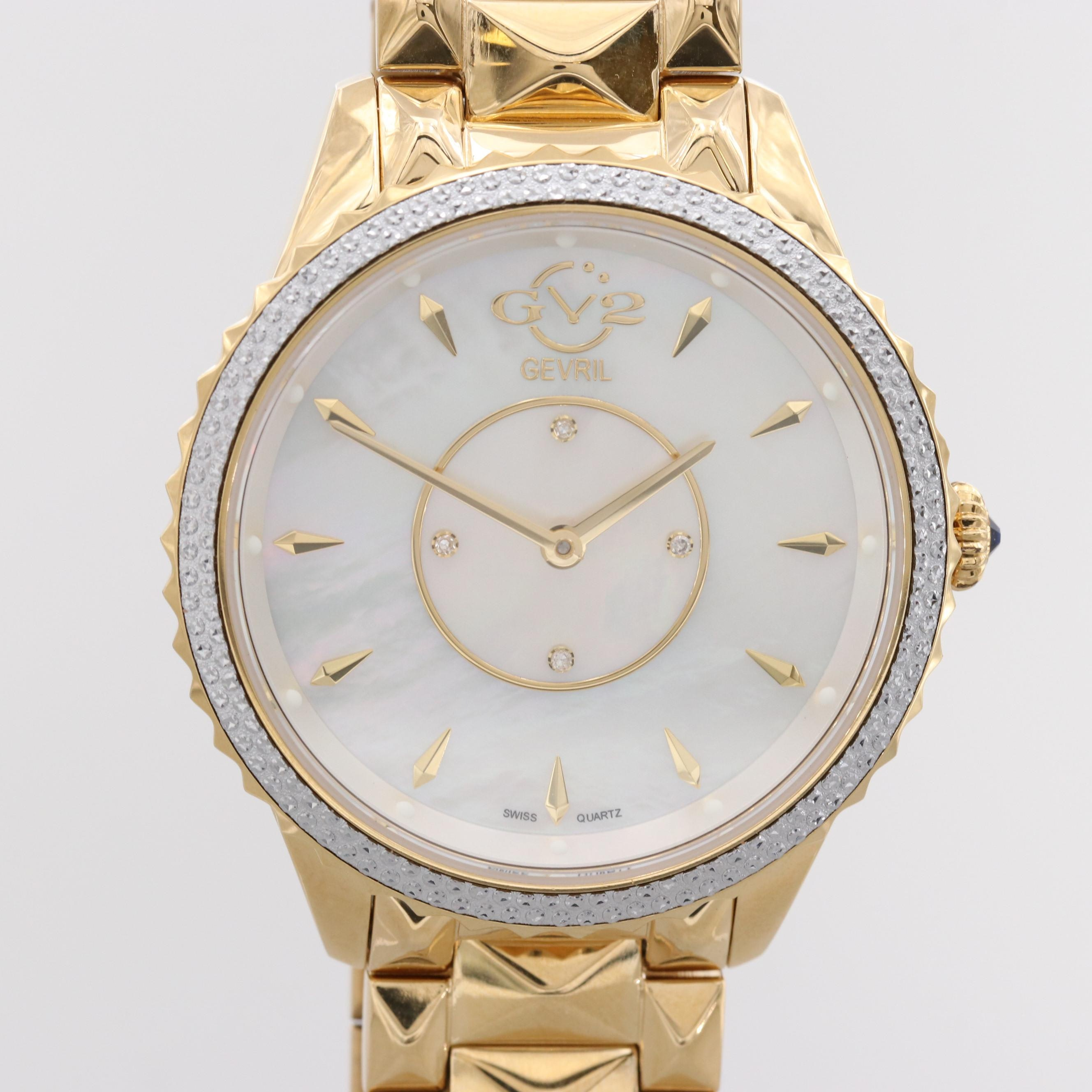 Gevril GV2 Siena Gold Tone Quartz Wristwatch With Mother of Pearl and Diamonds