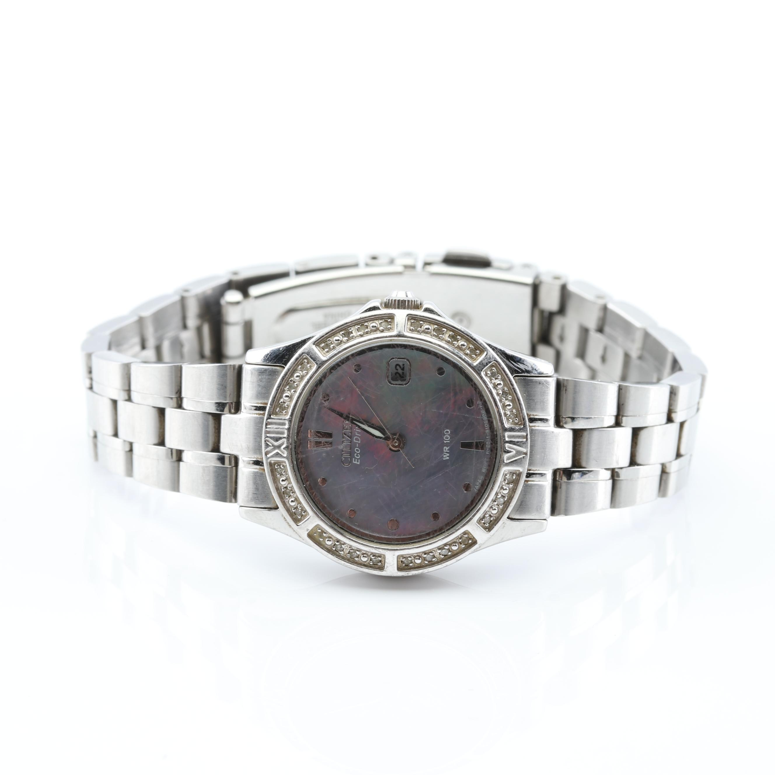 Citizen Stainless Steel Mother of Pearl and Diamond Wristwatch