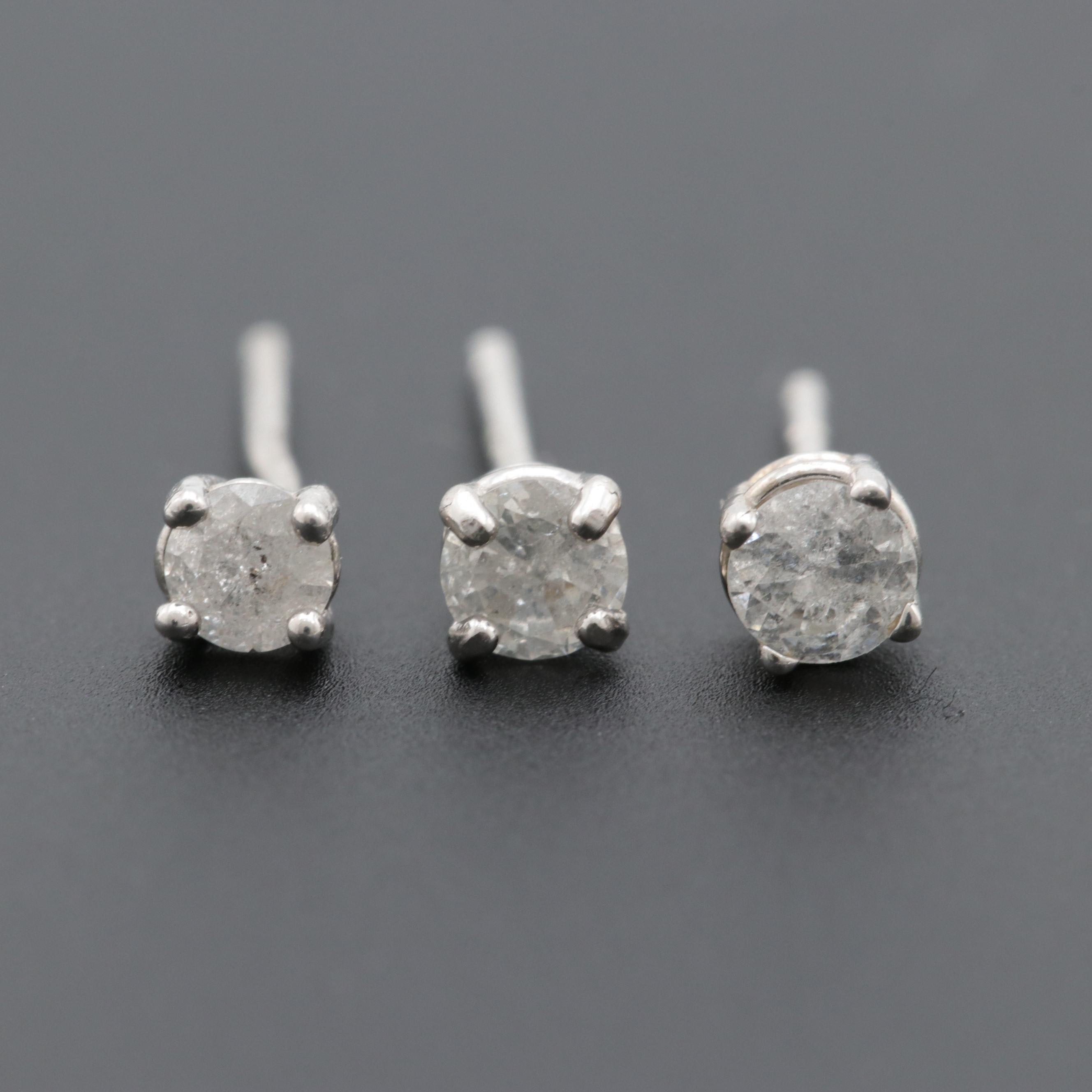 Sterling Silver and 10K White Gold Diamond Single Stud Earrings