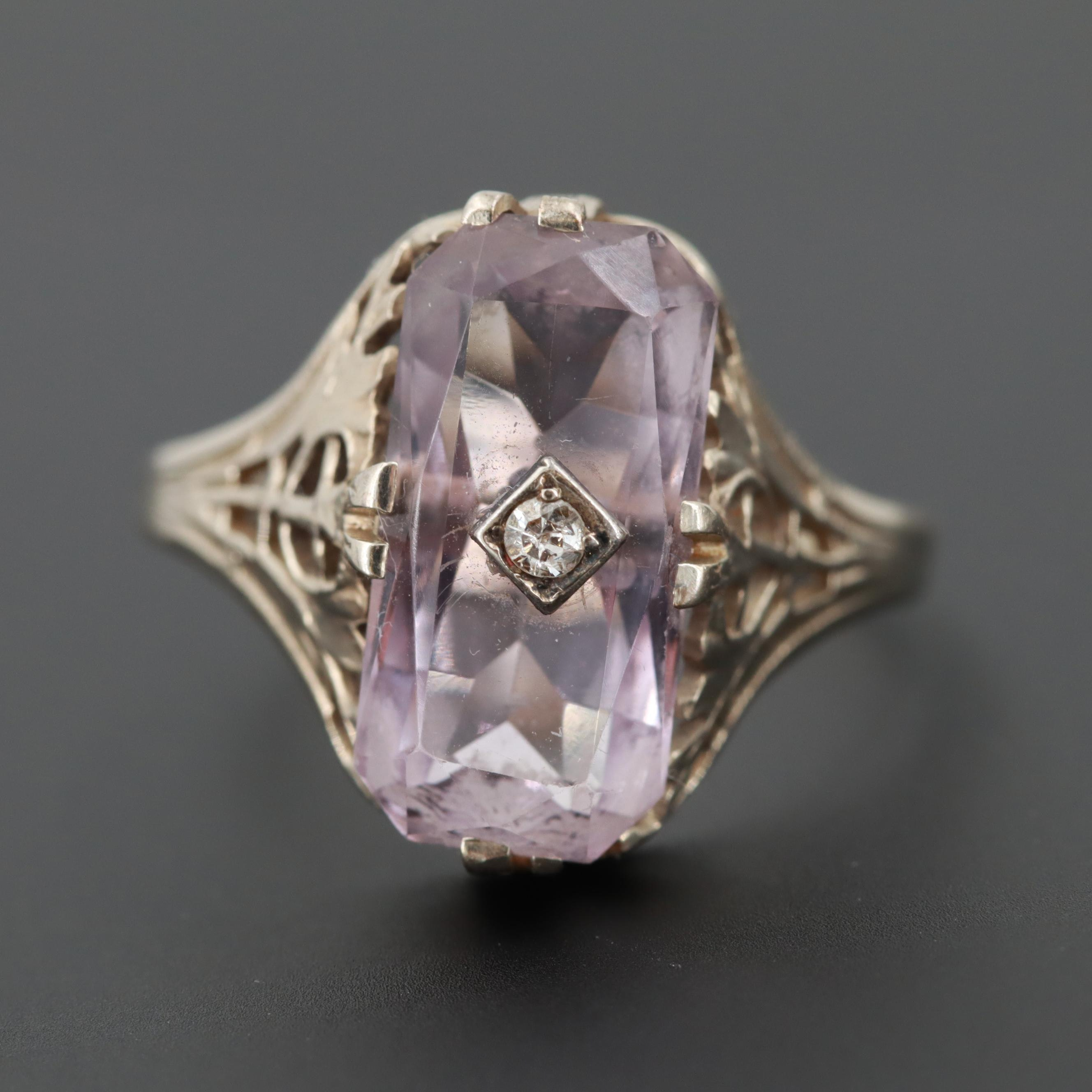 Vintage 14K White Gold Morganite and Diamond Ring