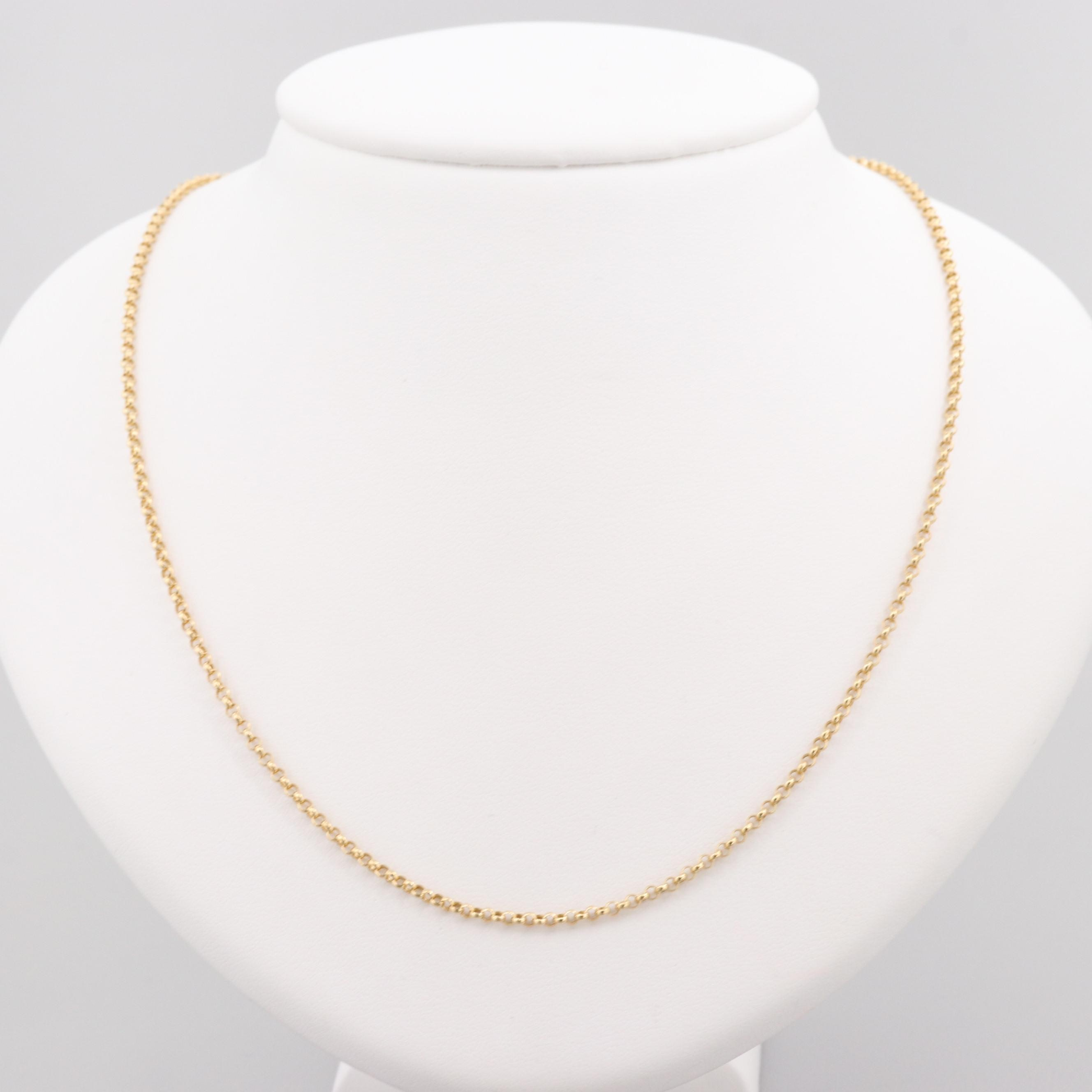 18K Yellow Gold Rolo Chain Necklace