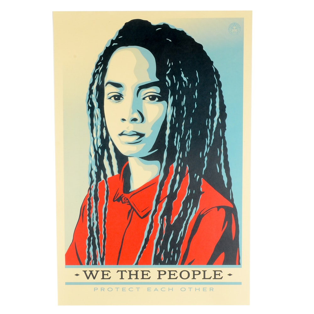 """Shepard Fairey Offset Print """"We the People: Protect Each Other"""""""
