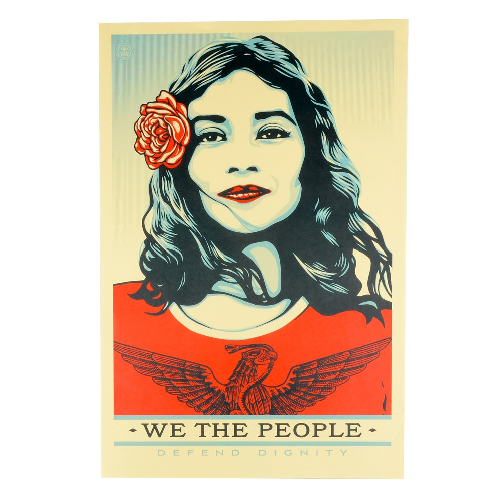 """Shepard Fairey Offset Print """"We the People: Defend Dignity"""""""