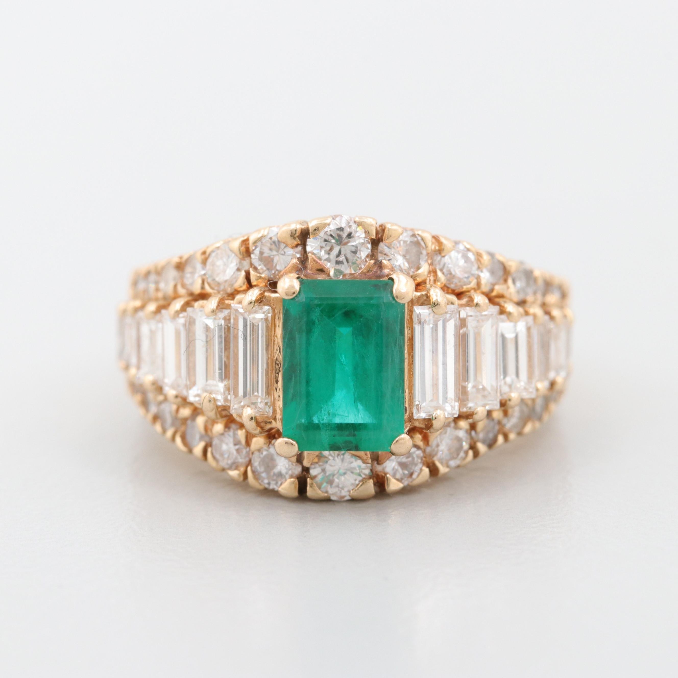 14K Yellow Gold Synthetic Emerald and 2.00 CTW Diamond Ring