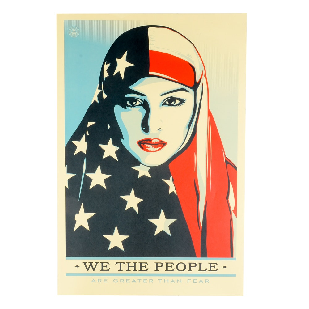 """Shepard Fairey Offset Print """"We the People: Are Greater Than Fear"""""""