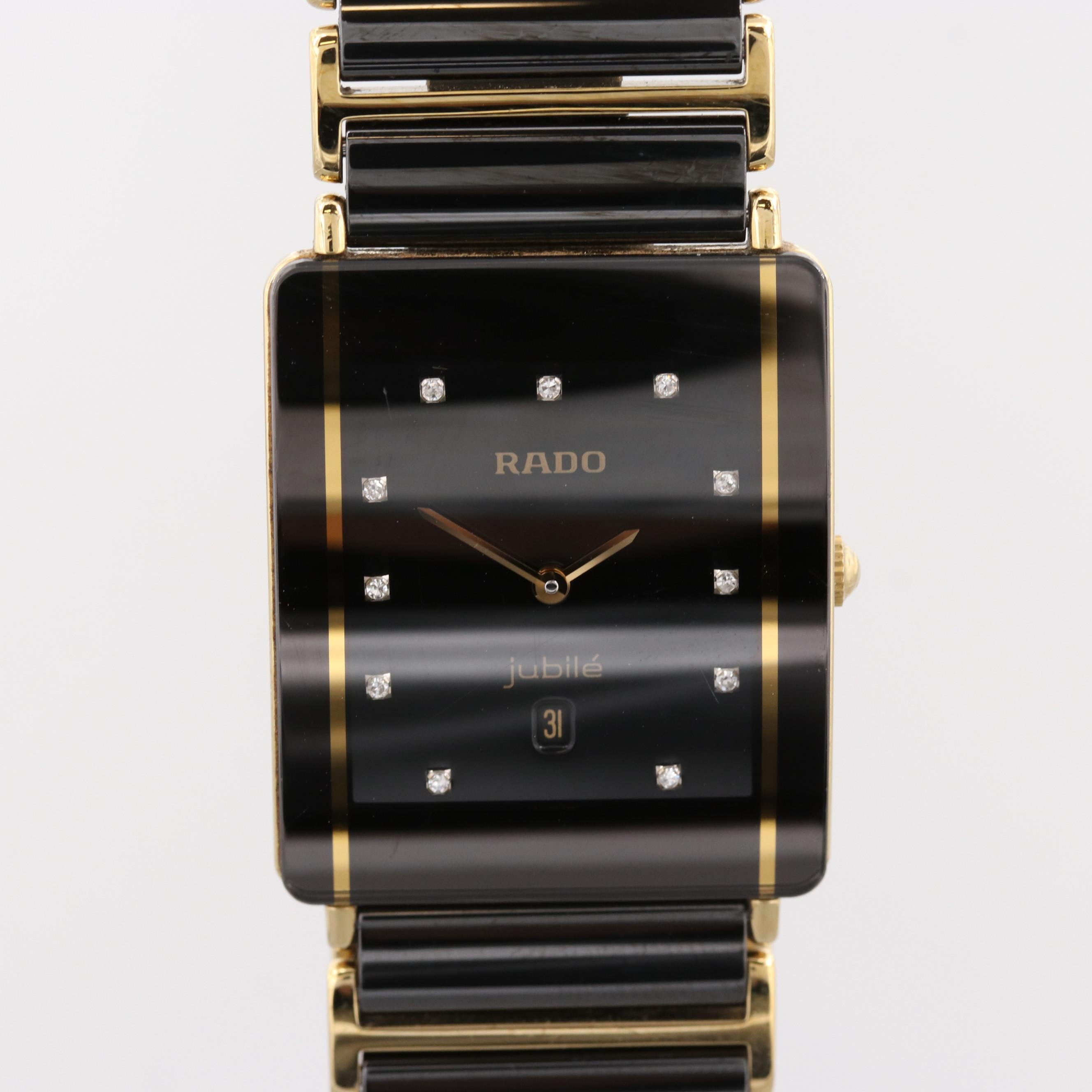 Rado Jubilé Black Titanium and Ceramic Wristwatch With Diamond Dial and Date