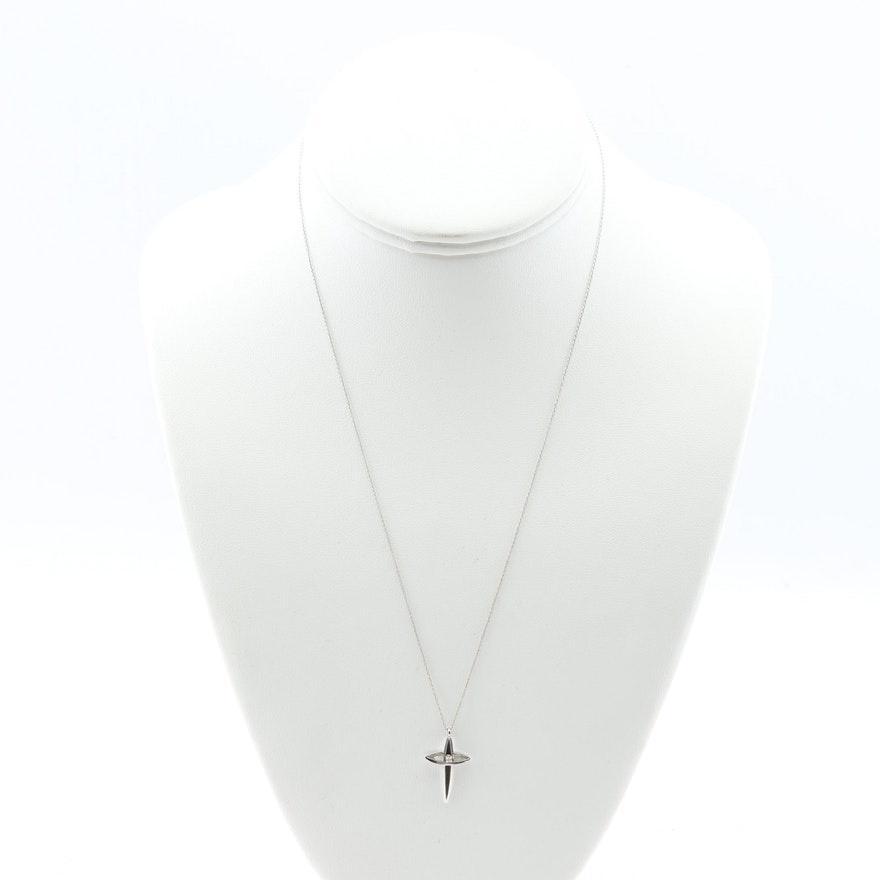 14K White Gold Cross Pendant Necklace