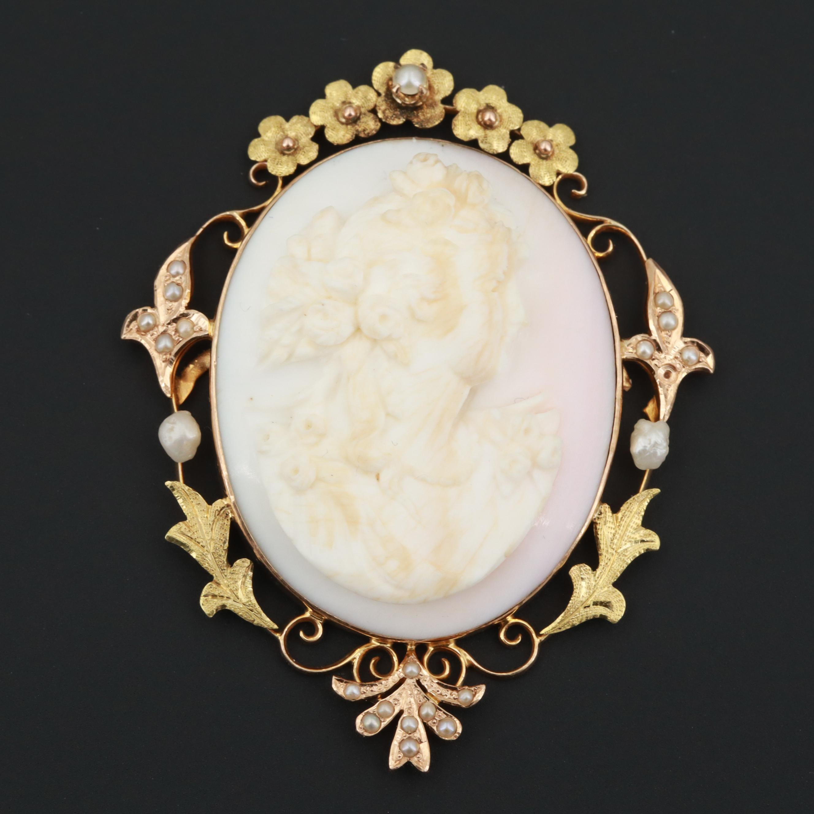 c. 1920s 10K Yellow Gold Conch Shell and Seed Pearl Converter Brooch