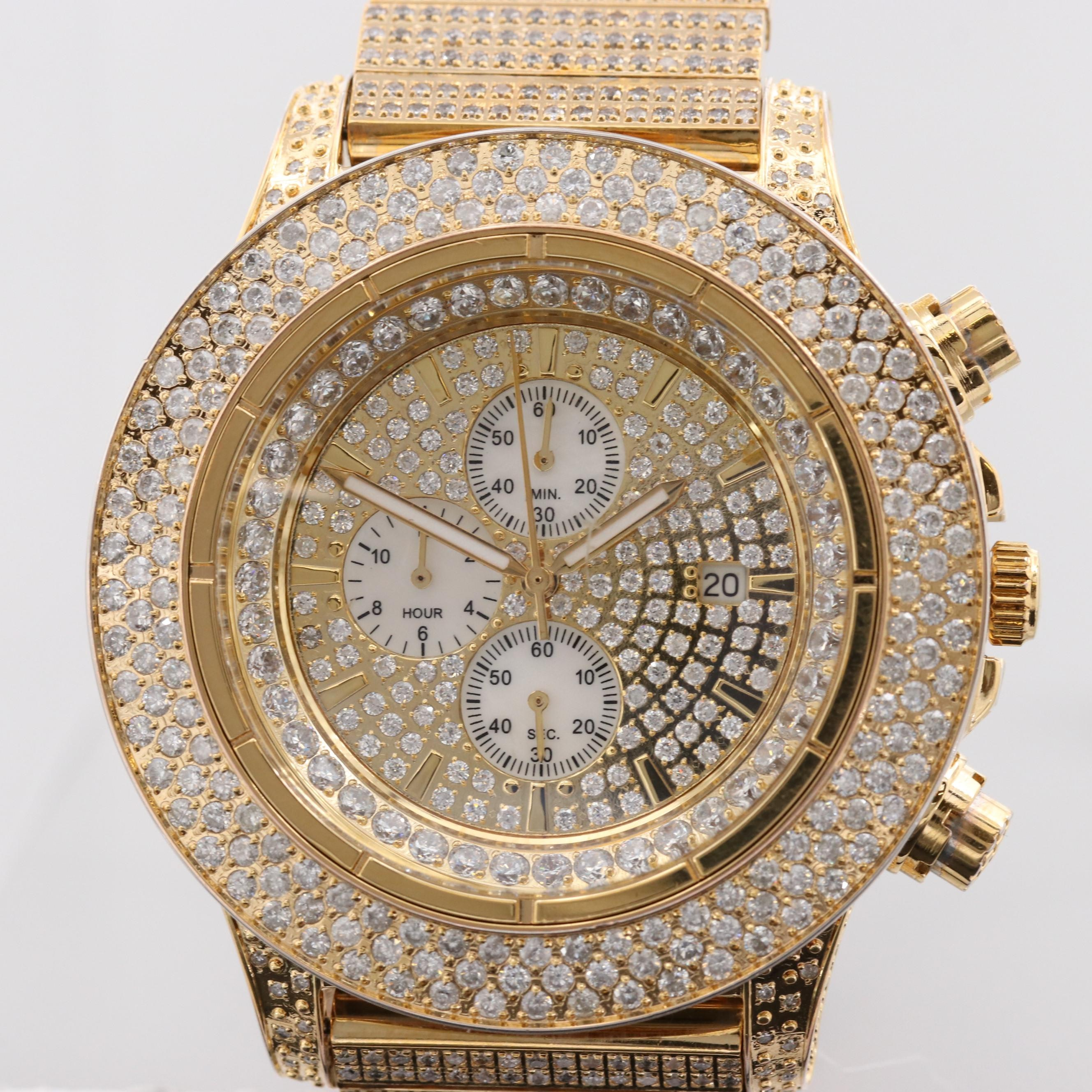 Icetime International Gold Tone 11.15 CTW Diamond Chronograph Quartz Wristwatch
