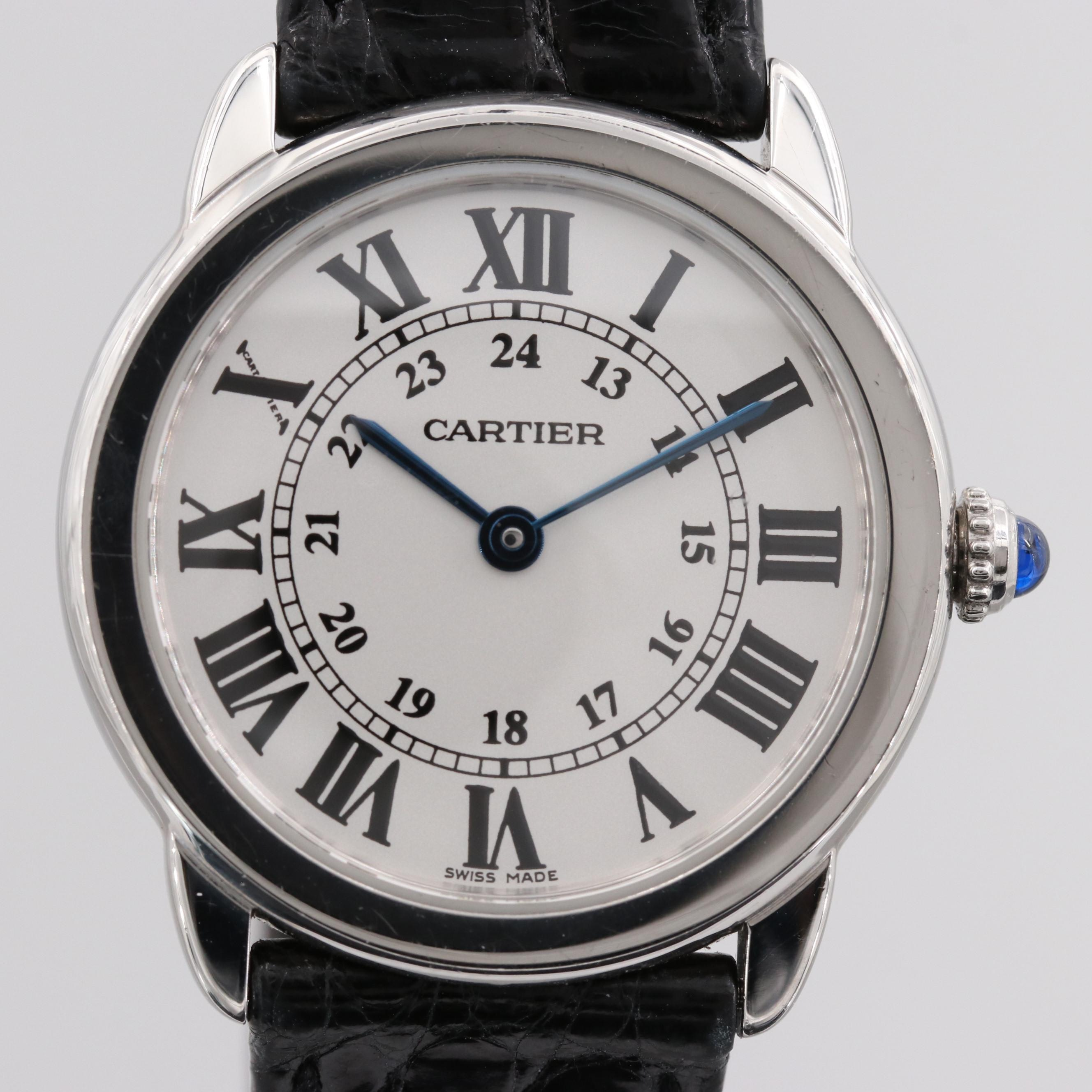 Ronde Solo de  Cartier Stainless Steel and Leather Wristwatch