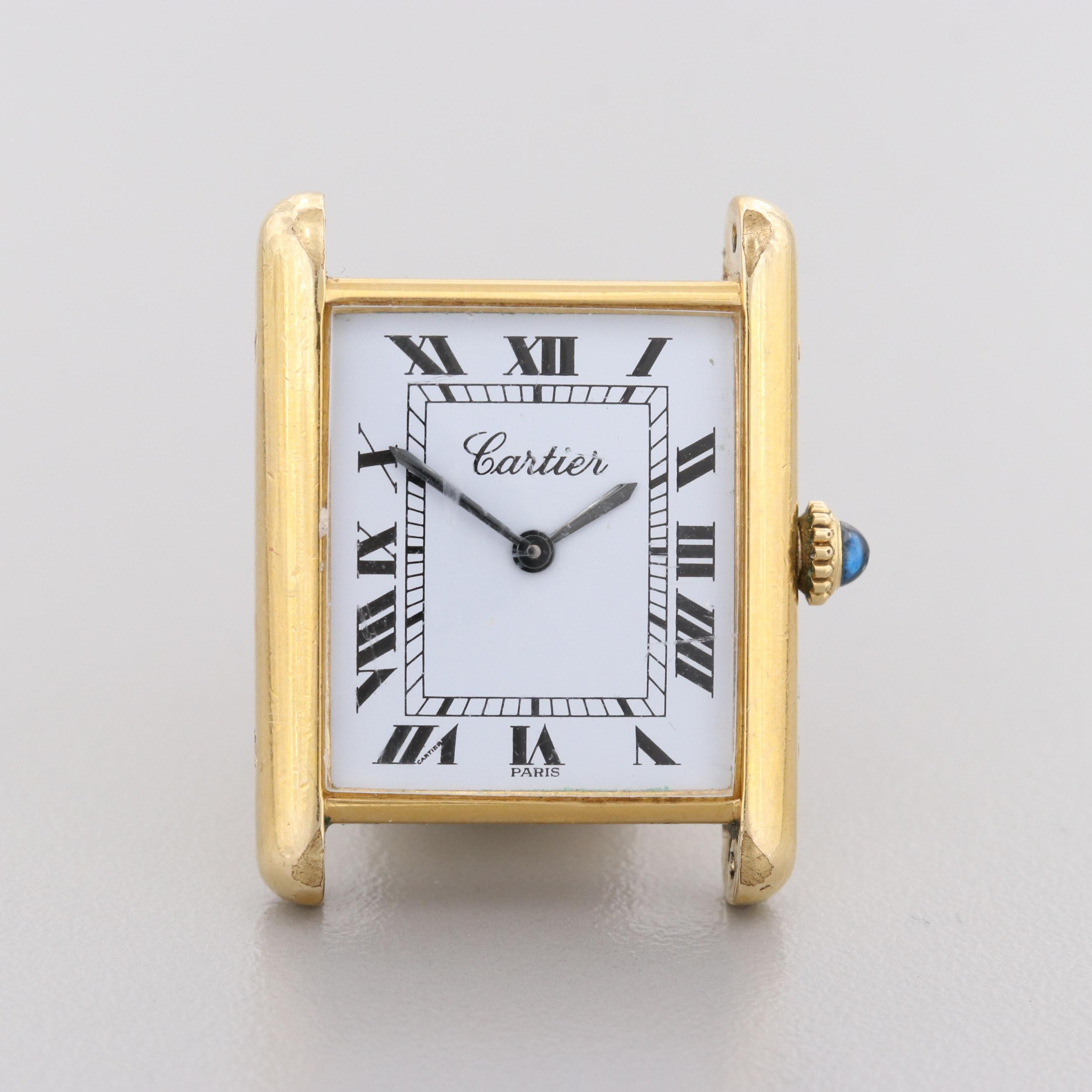 Vintage Cartier Tank Gold Plated Stem Wind Wristwatch