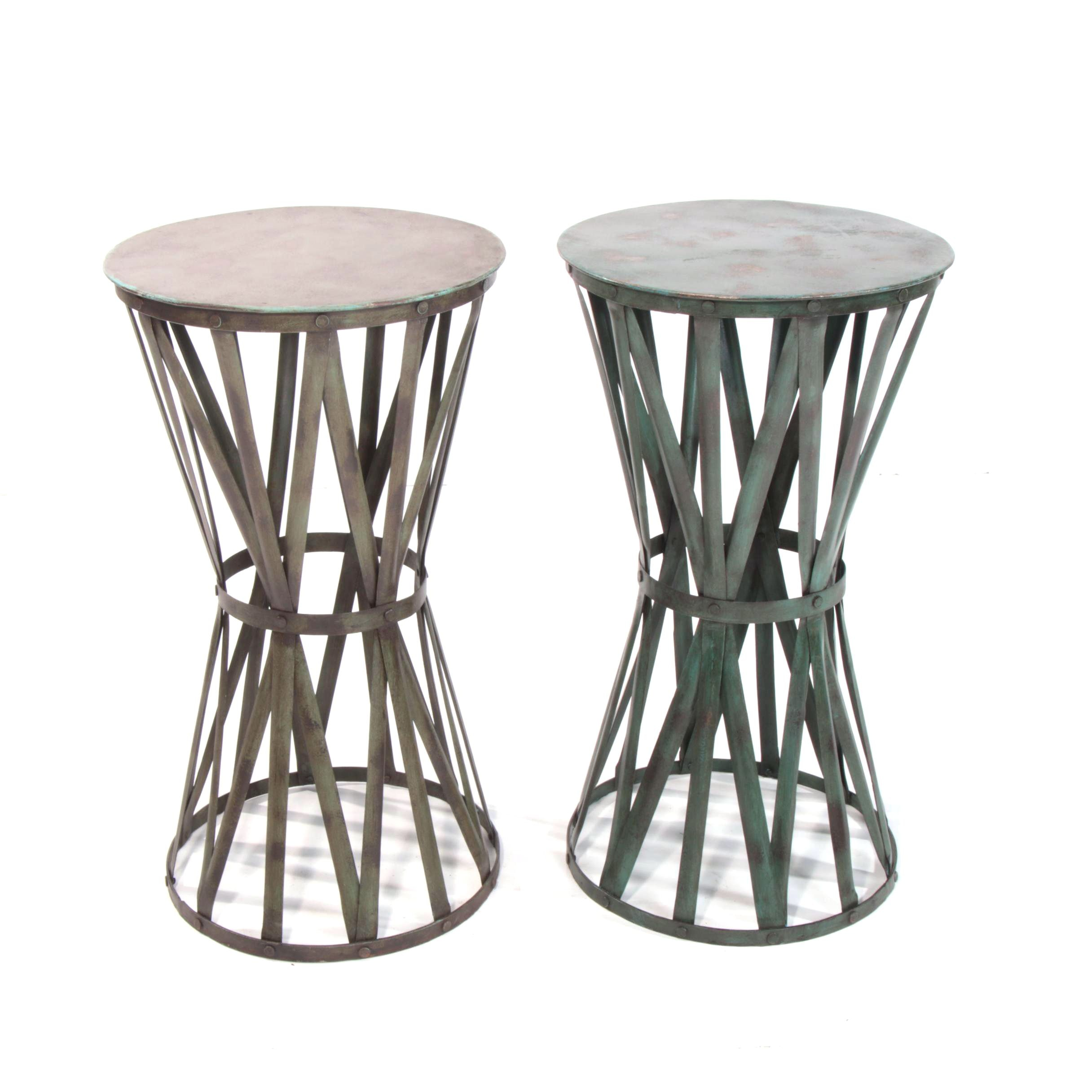 """Pair of Industrial Style """"Drum"""" Tole Metal Side Tables"""
