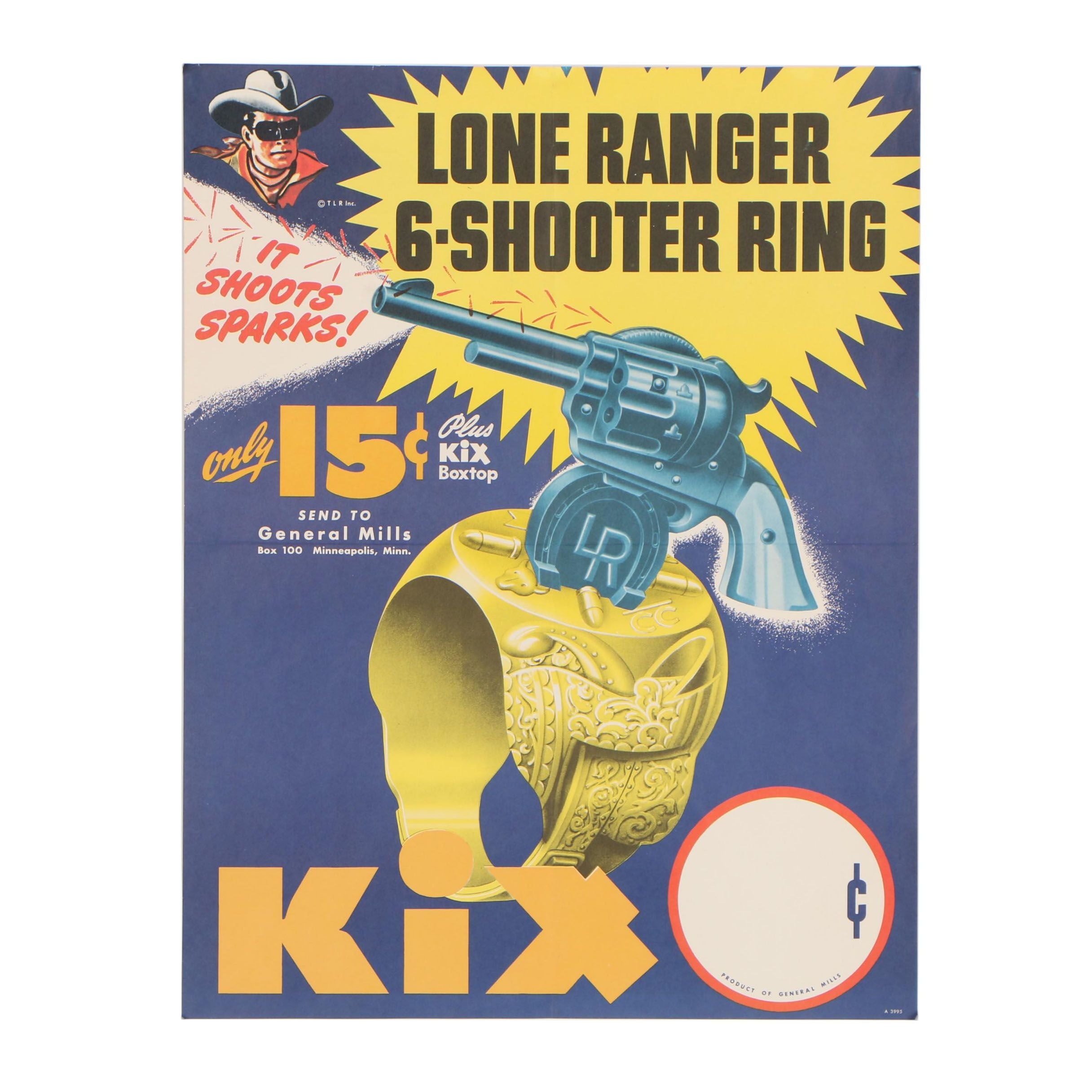 "General Mills Kix Cereal ""Lone Ranger"" 6-Shooter Ring Poster, 1947"