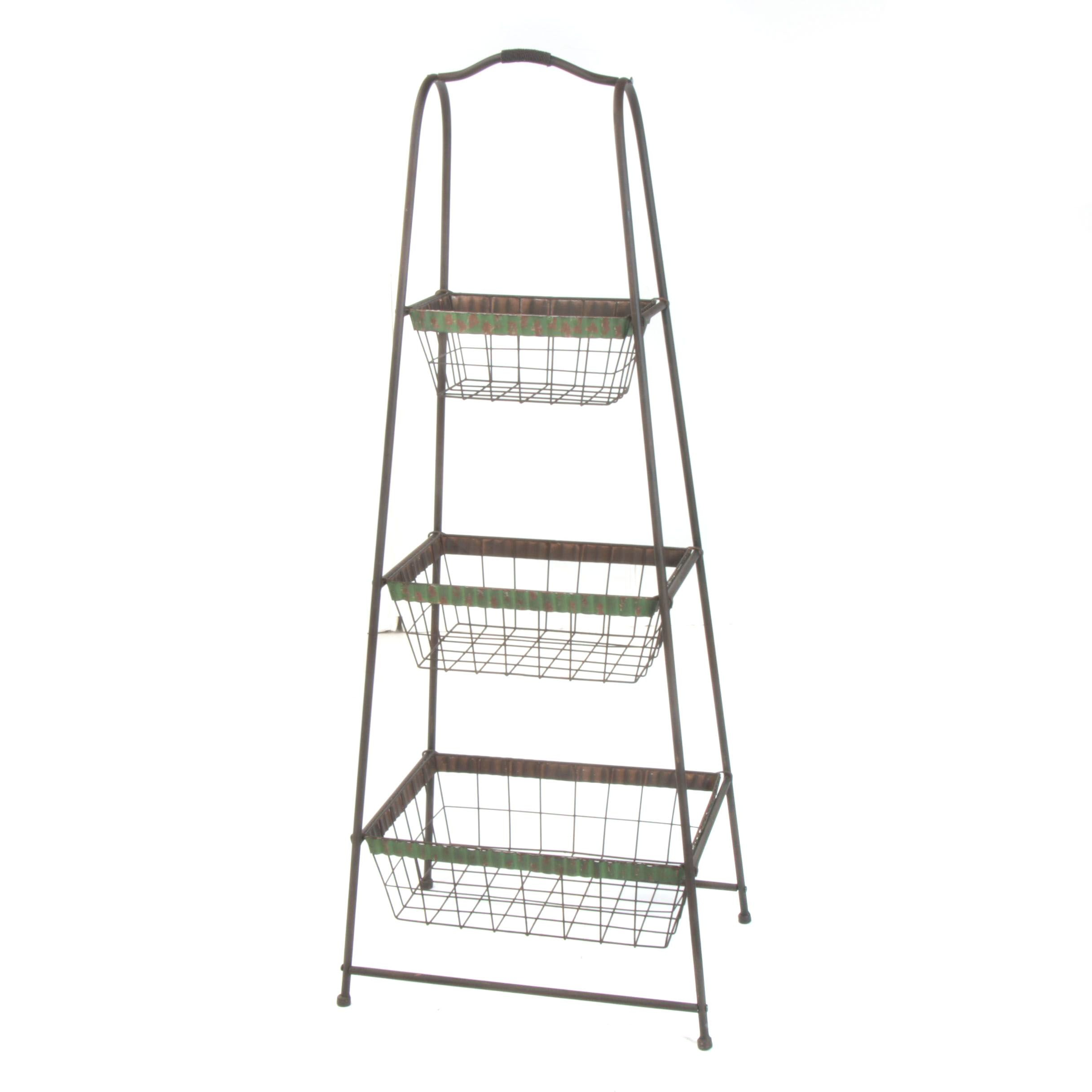 Industrial Style Metal Tiered Fruit Display Stand