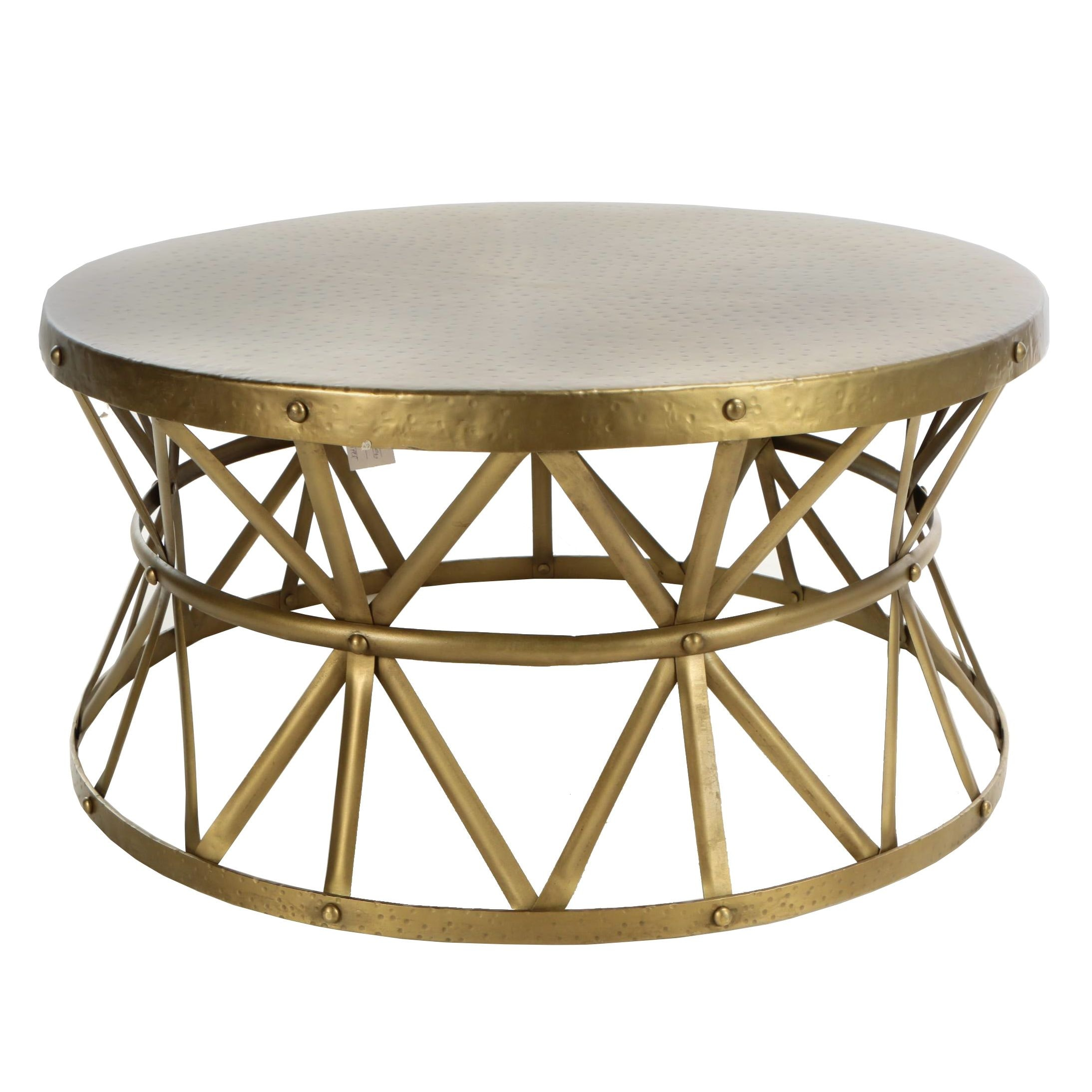 "Industrial Style ""Metal Smith's"" Gold Tone Metal Drum Coffee Table"
