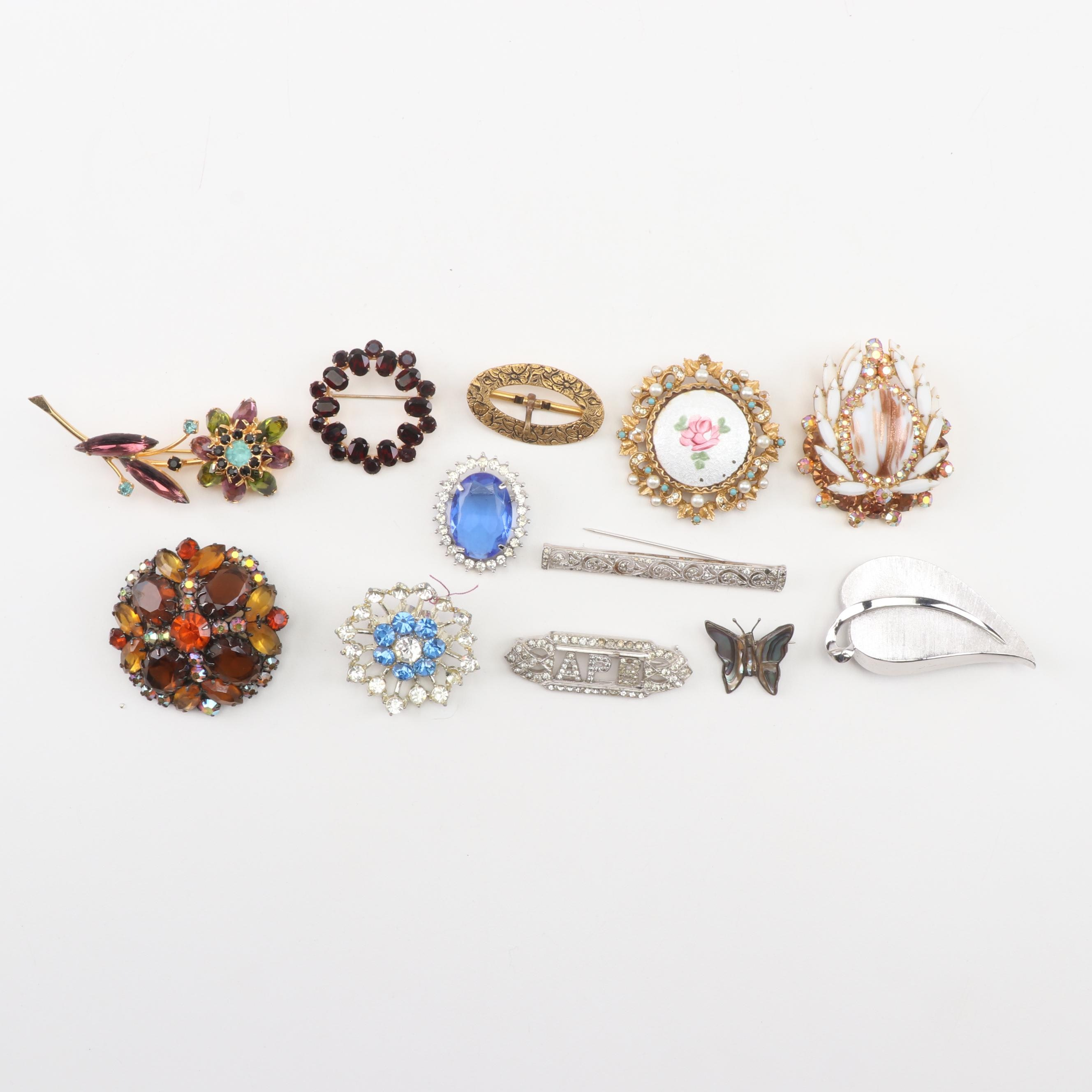 Assorted Costume Jewelry Brooches