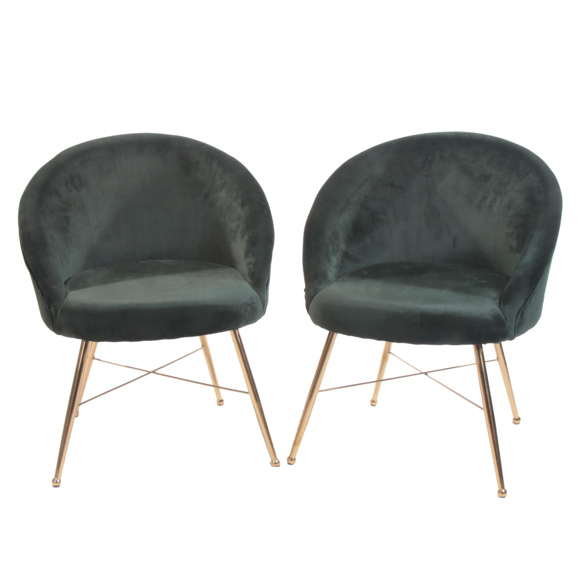 """Pair of Art Deco Style """"Chantilly"""" Emerald Green Velour Side Chairs"""
