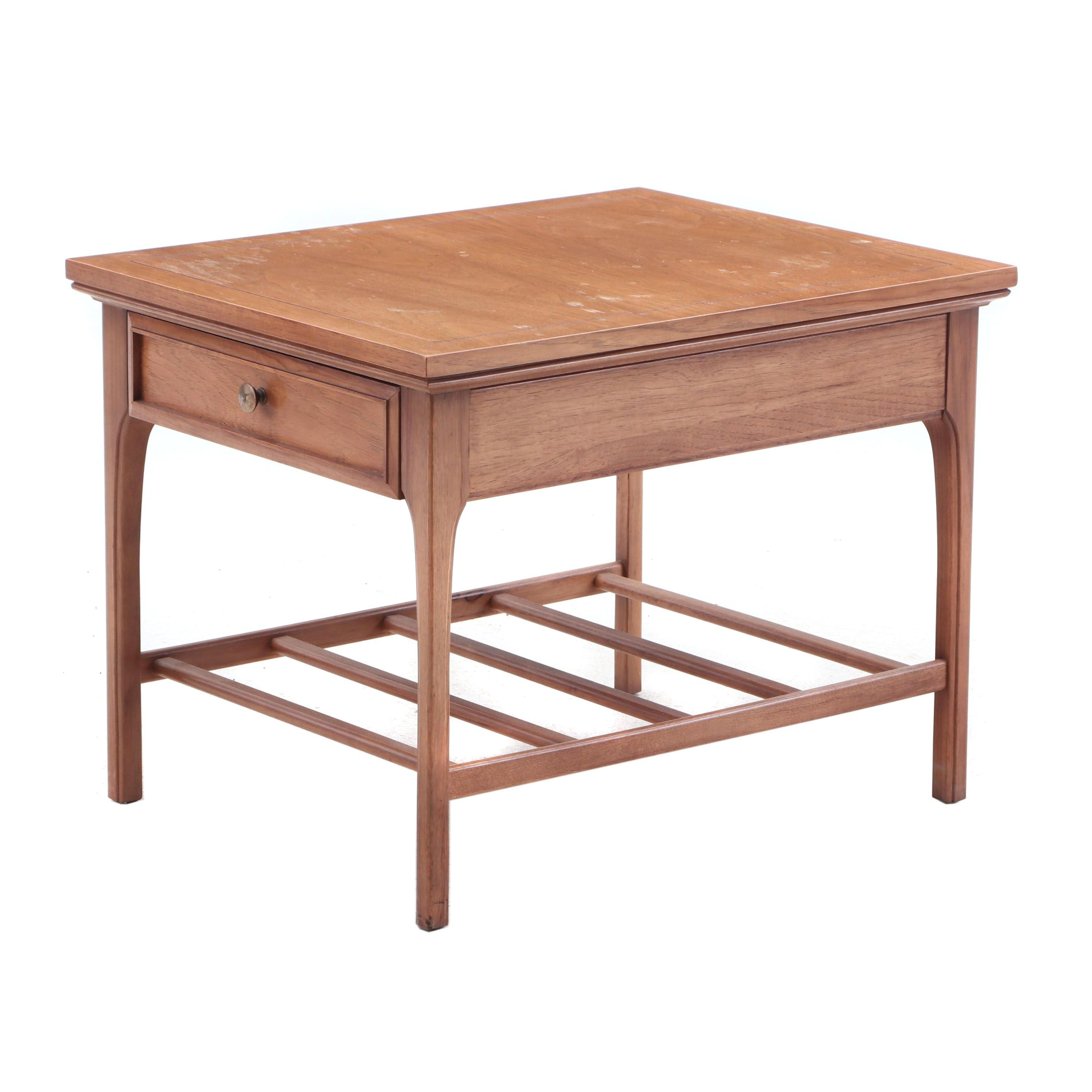 Mid Century Era Pecan End Table with Front Drawer