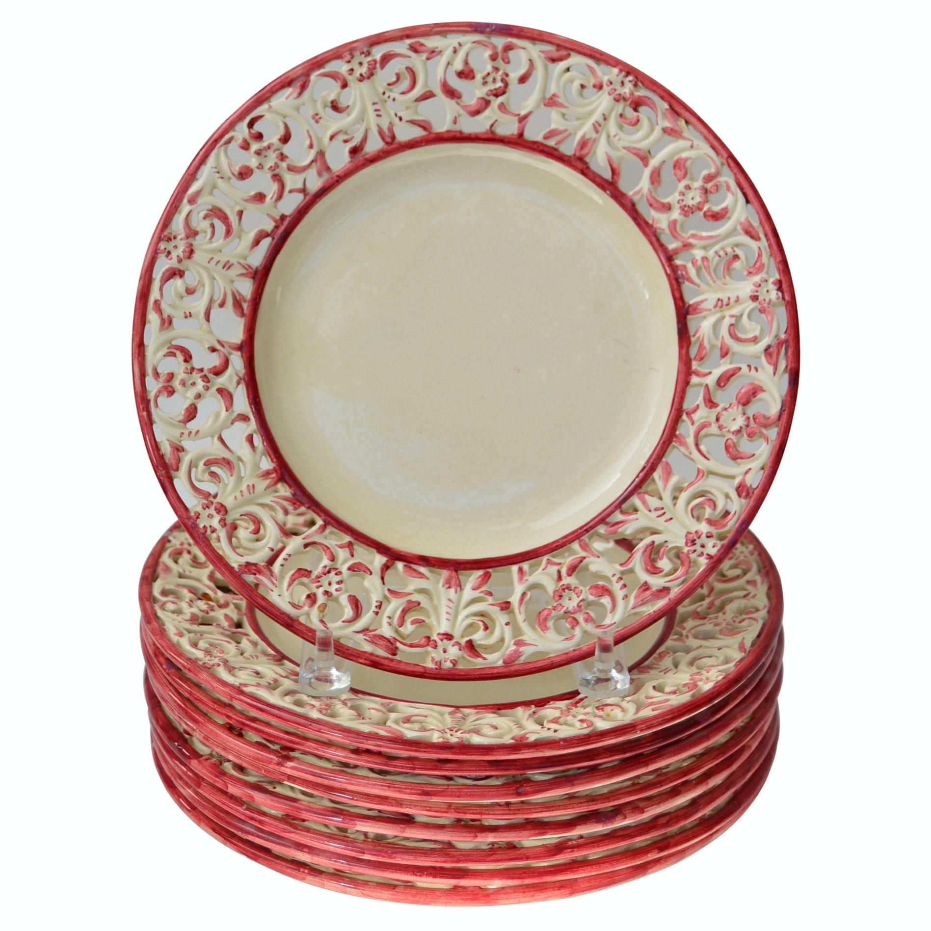 Set of Carole Stupell Porcelain Dinner Plates