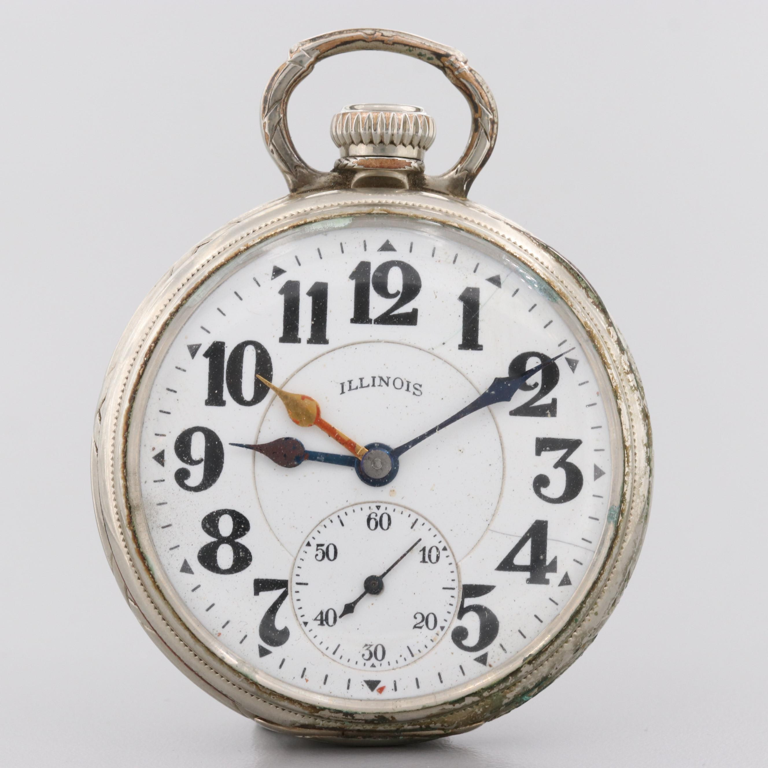 Illinois Railroad Grade Gold Filled Open Face, Dual Time Zone Pocket Watch,1925