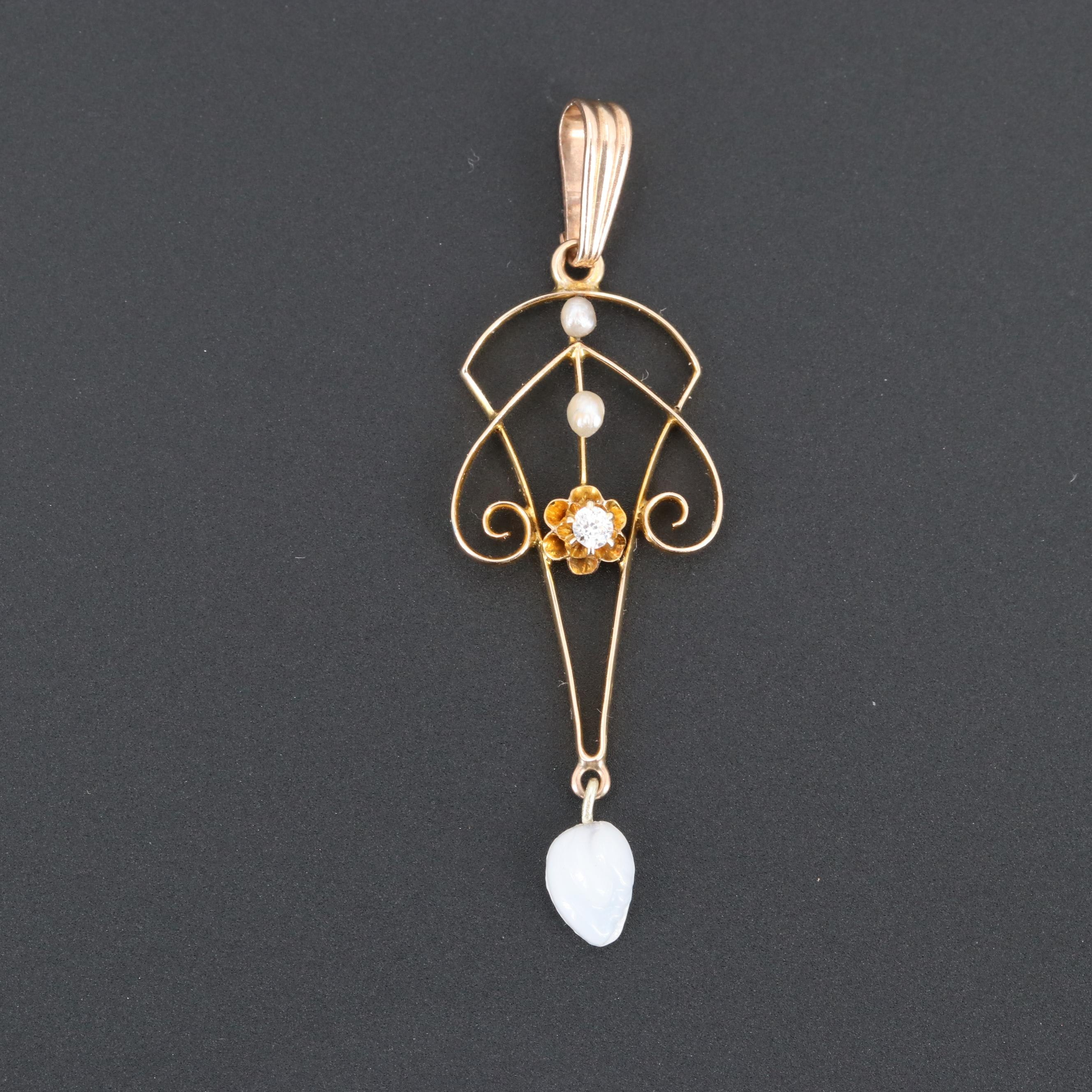 Vintage 14K Yellow Gold Seed Pearl, Diamond and Glass Lavaleir Pendant