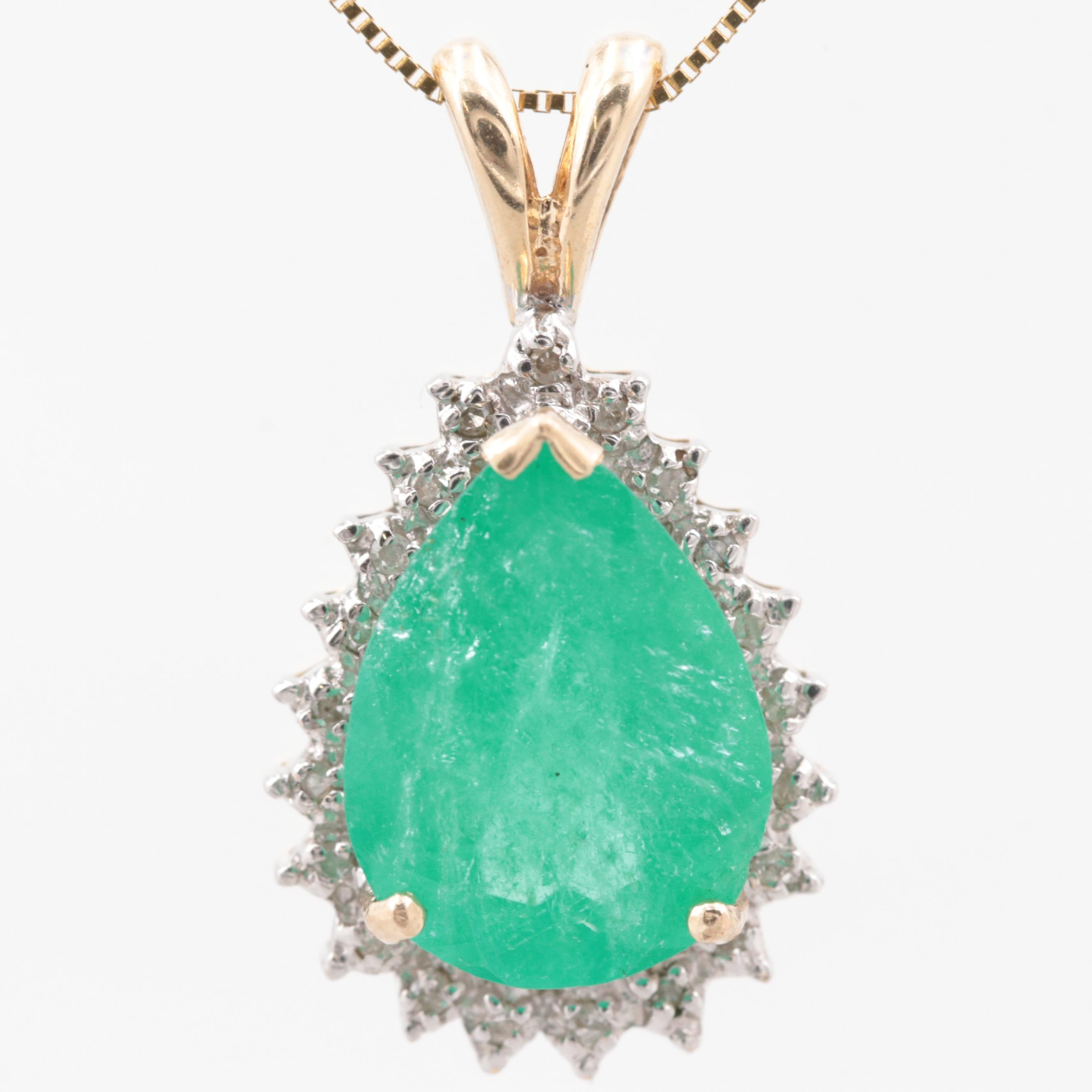 10K Yellow Gold Emerald and Diamond Pendant with 14K Yellow Gold Necklace