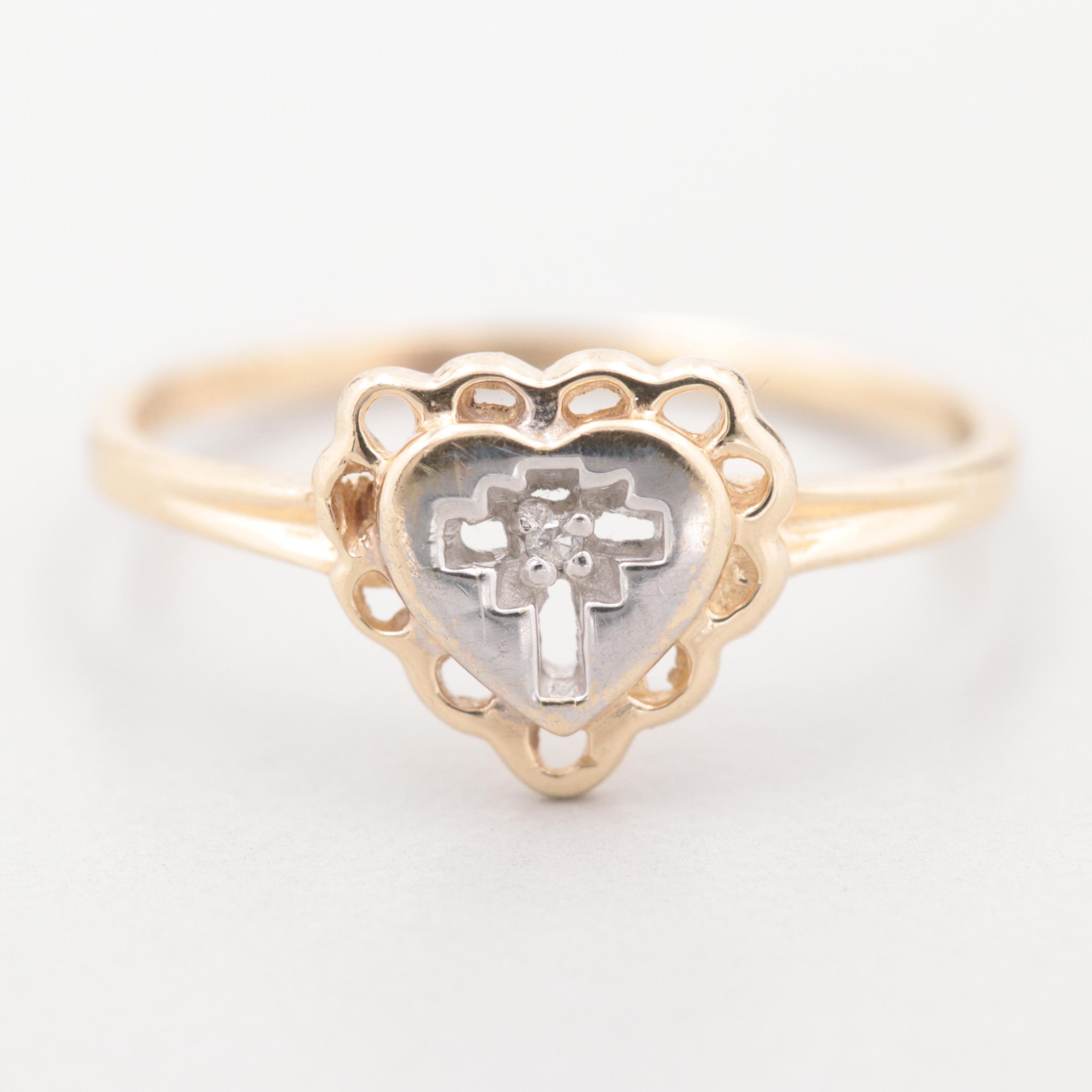 10K Yellow Gold Diamond Heart with Cross Ring